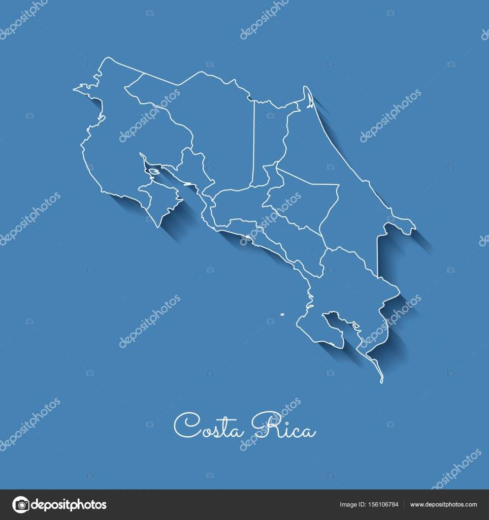 Costa Rica region map blue with white outline and shadow on blue ...