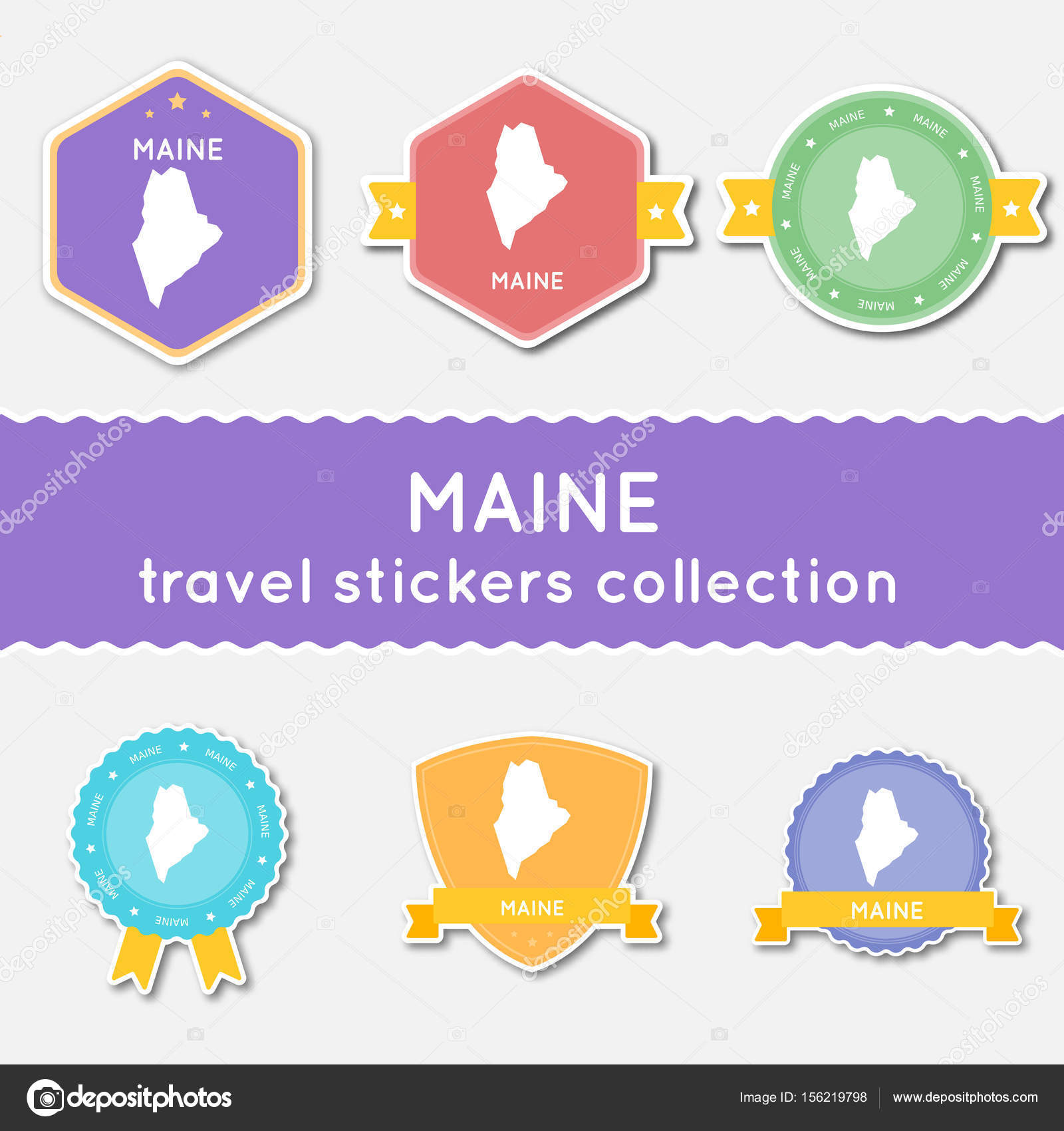 Maine Travel Stickers Collection Big Set Of Stickers With US State - Us map flat