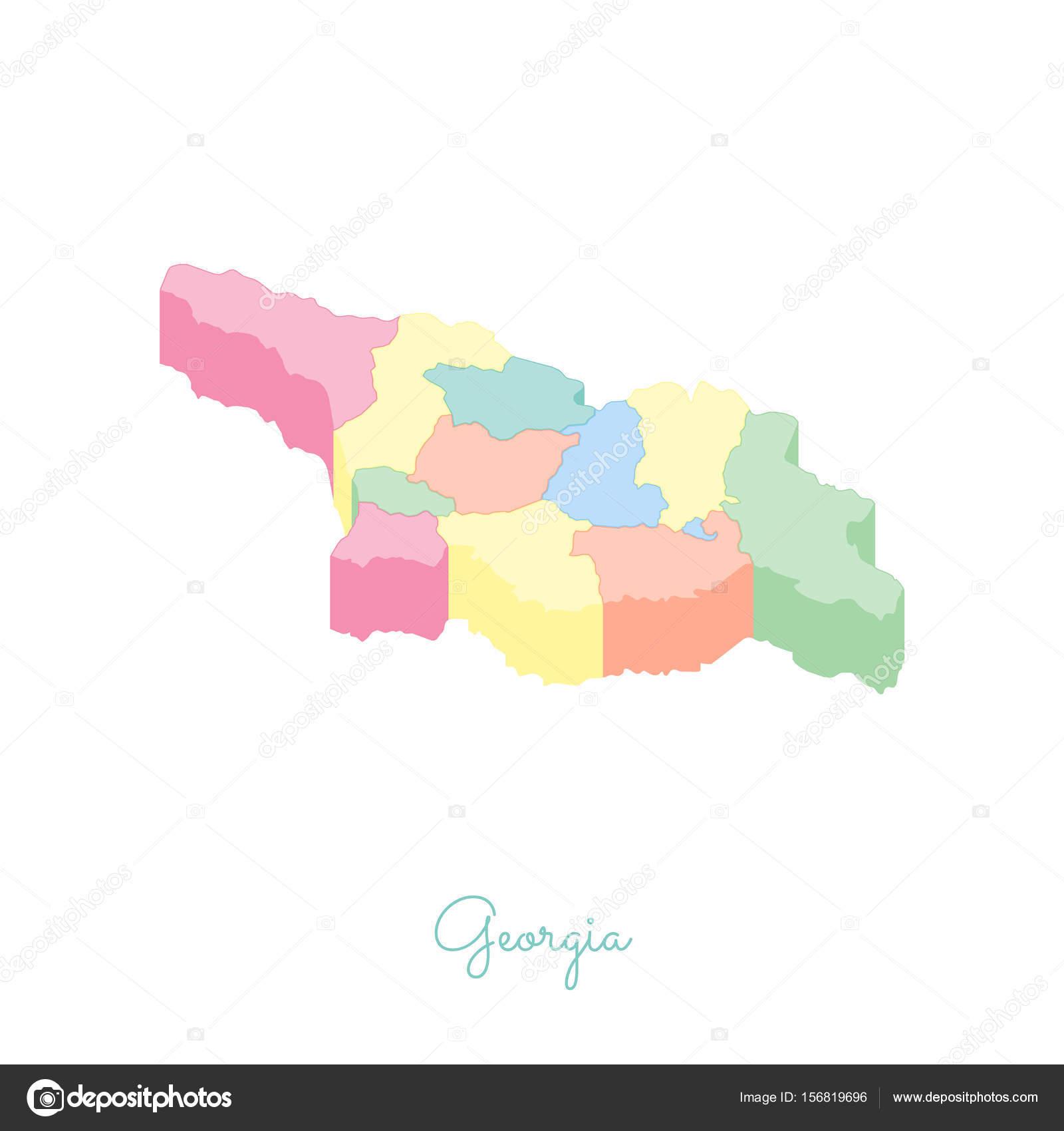 Georgien Karte Regionen.Georgien Region Karte Bunt Isometrischen Draufsicht Detaillierte