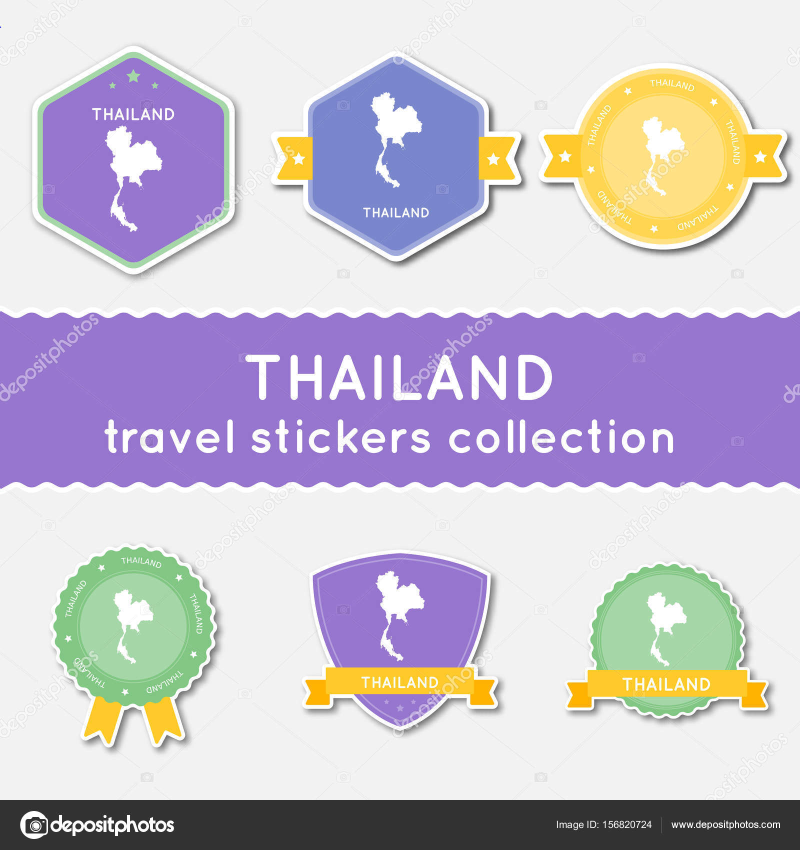 Thailand Travel Stickers Collection Big Set Of Stickers With US - Flat us map