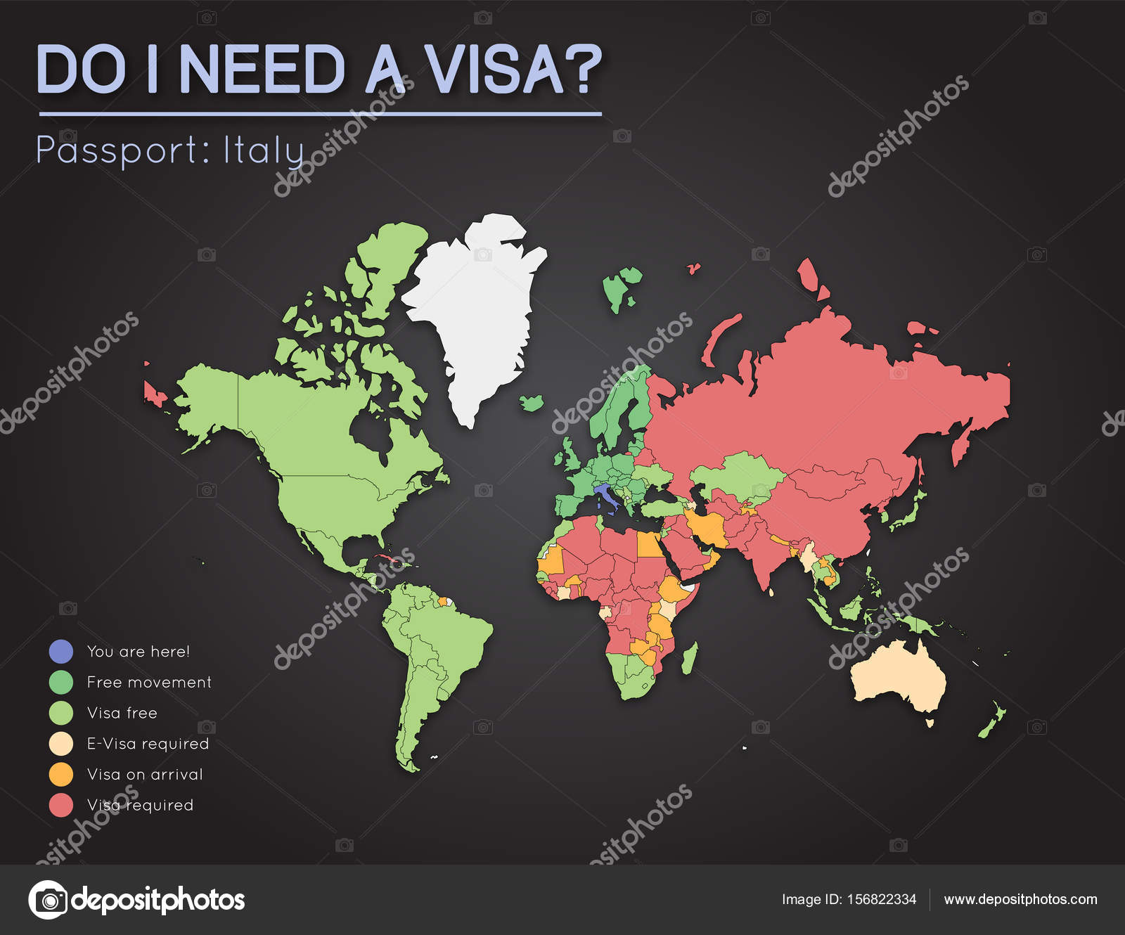 Visas information for italian republic passport holders year 2017 visas information for italian republic passport holders year 2017 world map infographics showing visa requirements for all countries vector illustration gumiabroncs Images