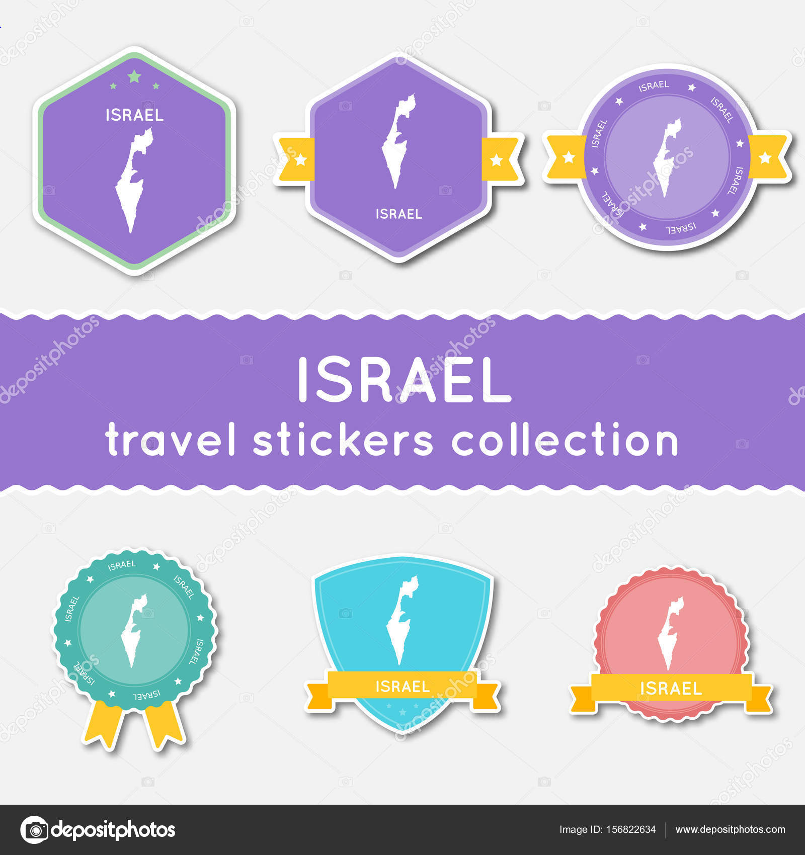 israel travel stickers collection big set of stickers with us state map and name flat material