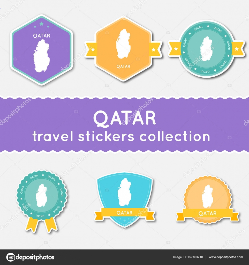 Qatar travel stickers collection Big set of stickers with country