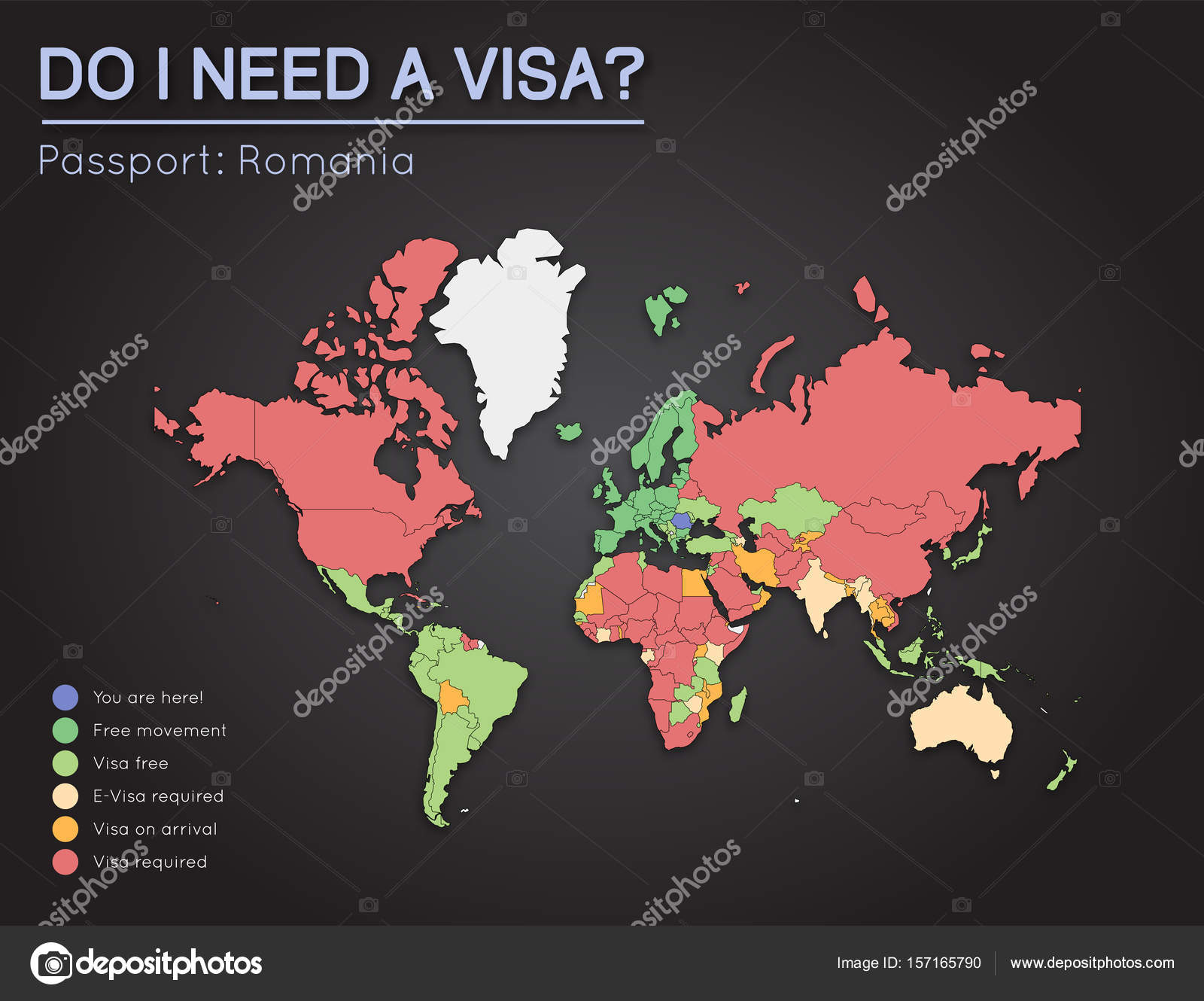 Visas information for romania passport holders year 2017 world map visas information for romania passport holders year 2017 world map infographics showing visa requirements for all countries vector illustration gumiabroncs Image collections