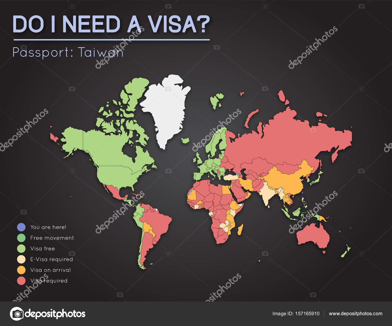 Visas information for taiwan passport holders year 2017 world map visas information for taiwan passport holders year 2017 world map infographics showing visa stock vector gumiabroncs Images