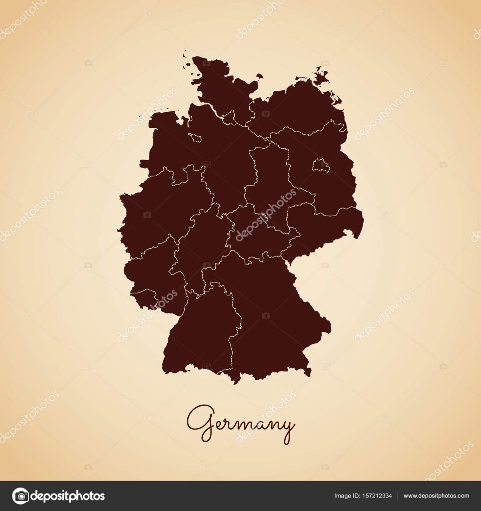 germany region map retro style brown outline on old paper background detailed map of germany