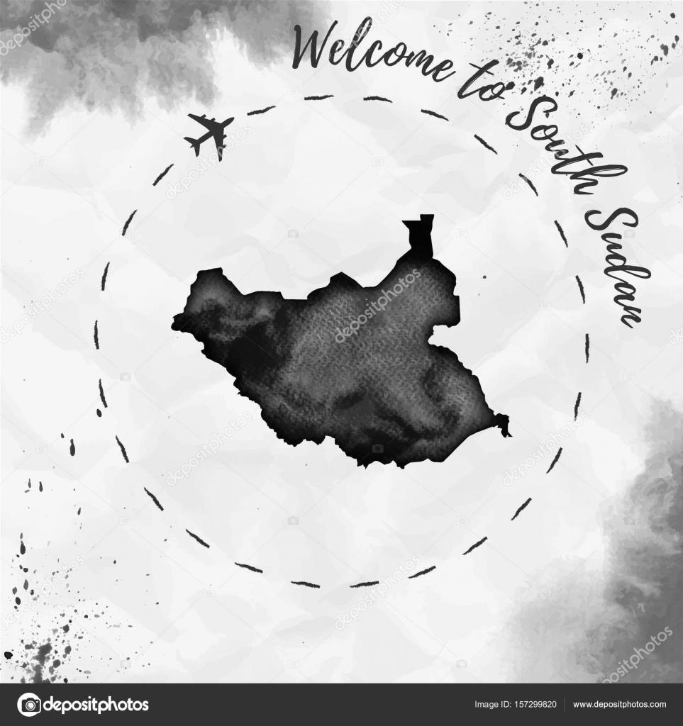 South Sudan Watercolor Map In Black Colors Welcome To South Sudan - Sudan map download