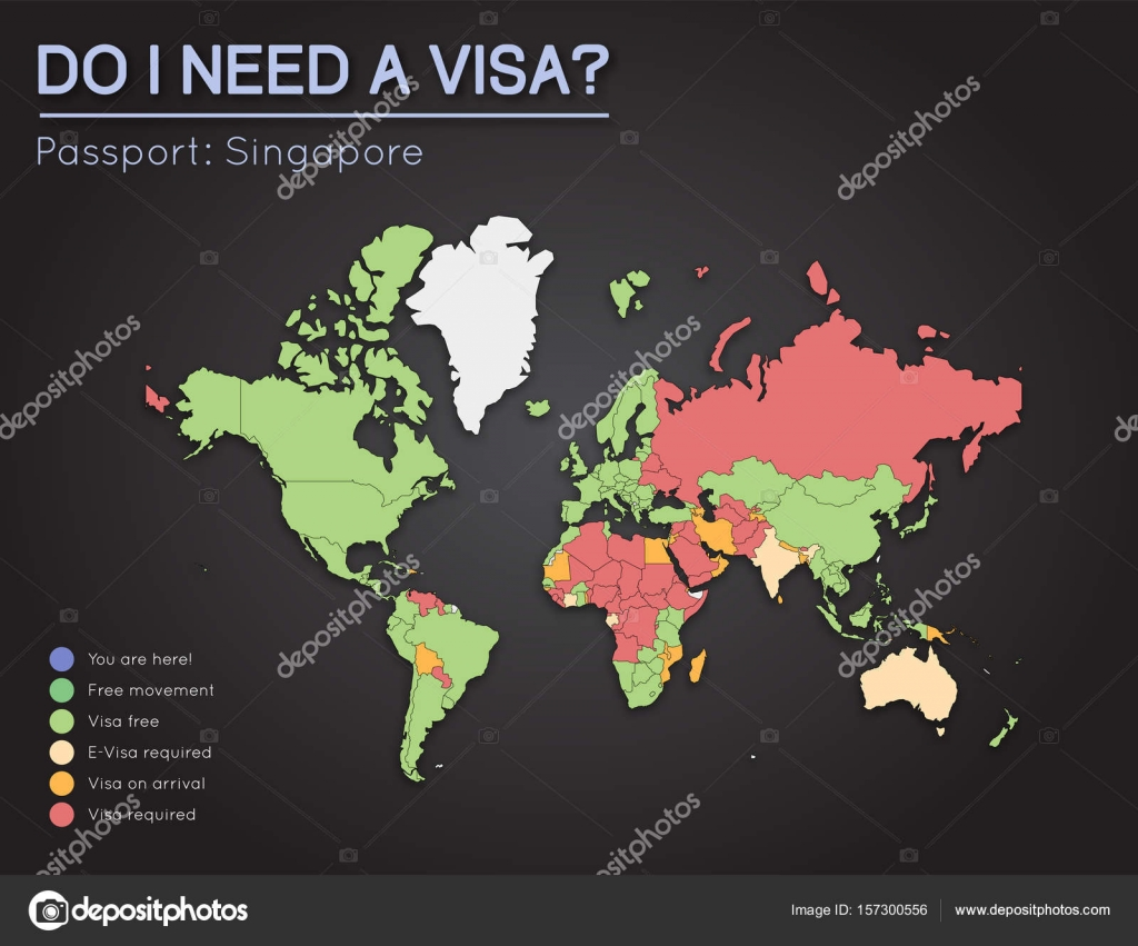 Visas Information For Republic Of Singapore Passport Holders Year - I need a world map