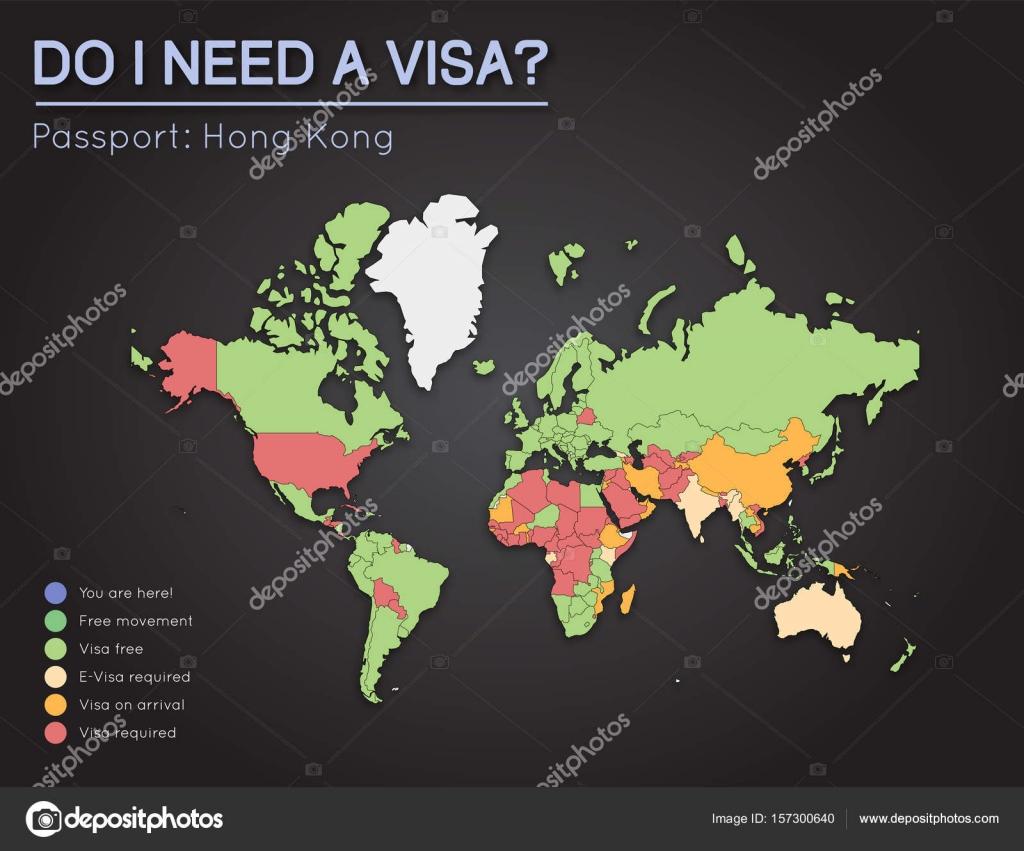 Visas Information For Hong Kong Passport Holders Year 2017 World Map