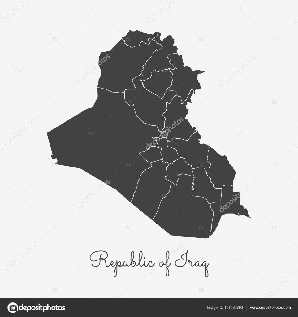 Republic Of Iraq Region Map Grey Outline On White Background - Iraq map outline