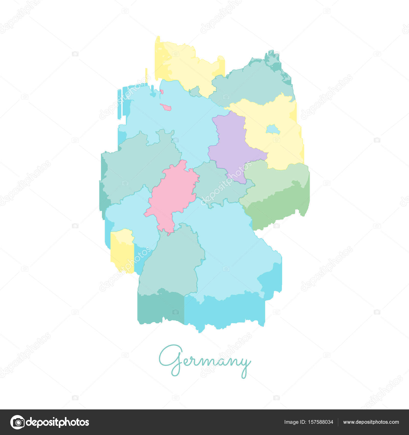 Map Of Germany Regions.Germany Region Map Colorful Isometric Top View Detailed Map Of