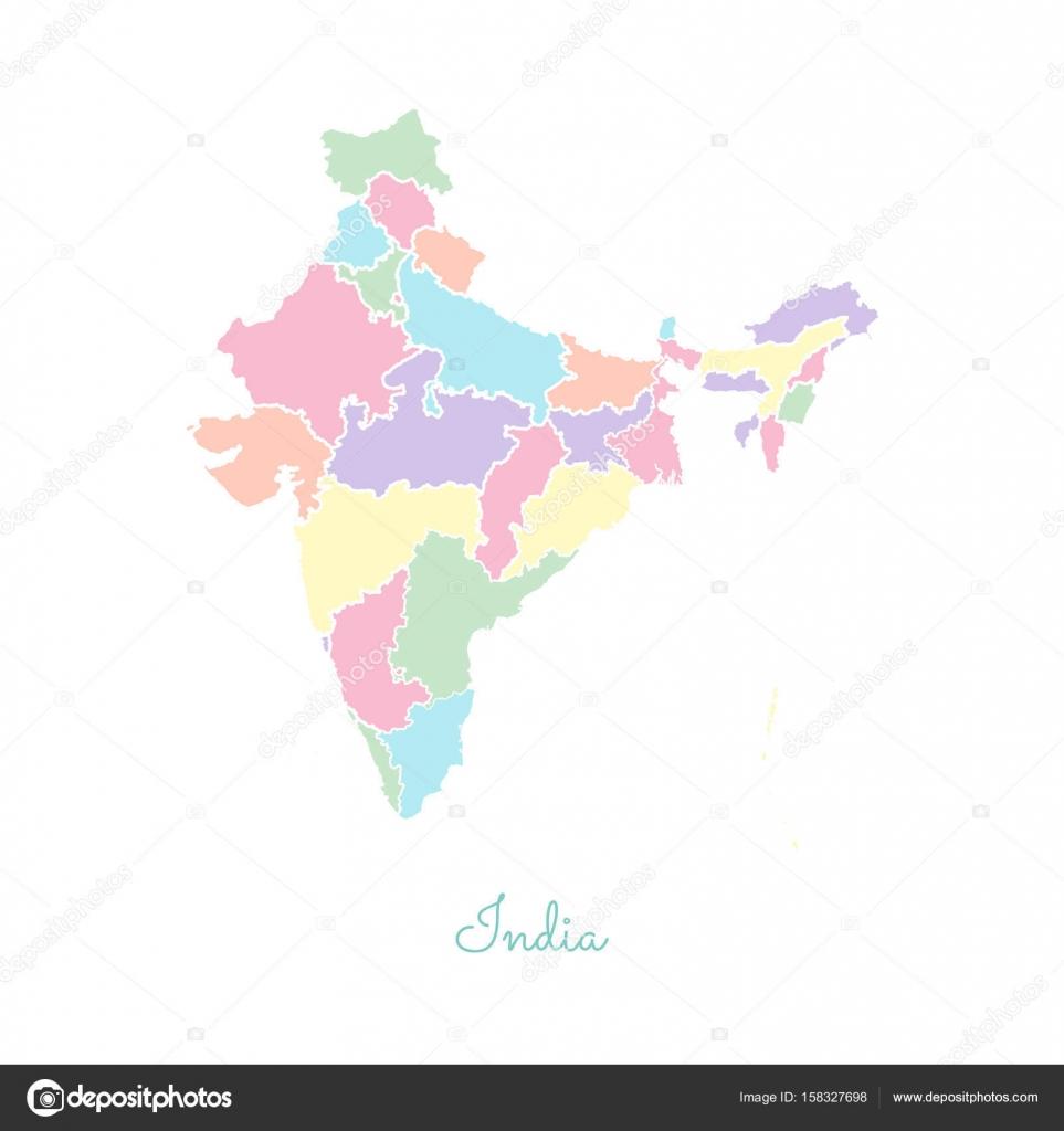 Regin india mapa colorido con mapa detallado esquema blanco de la regin india mapa colorido con mapa detallado esquema blanco de la ilustracin de vector de regiones gumiabroncs Images