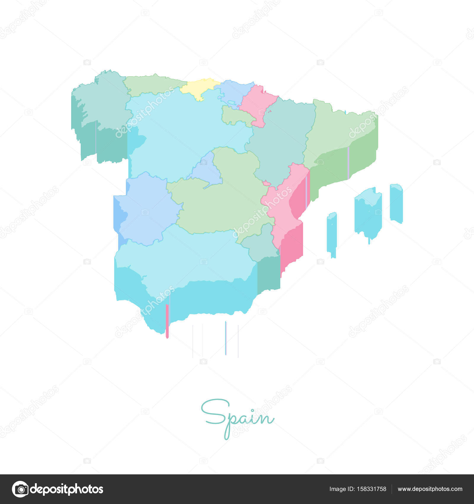 Spain region map colorful isometric top view Detailed map of ...