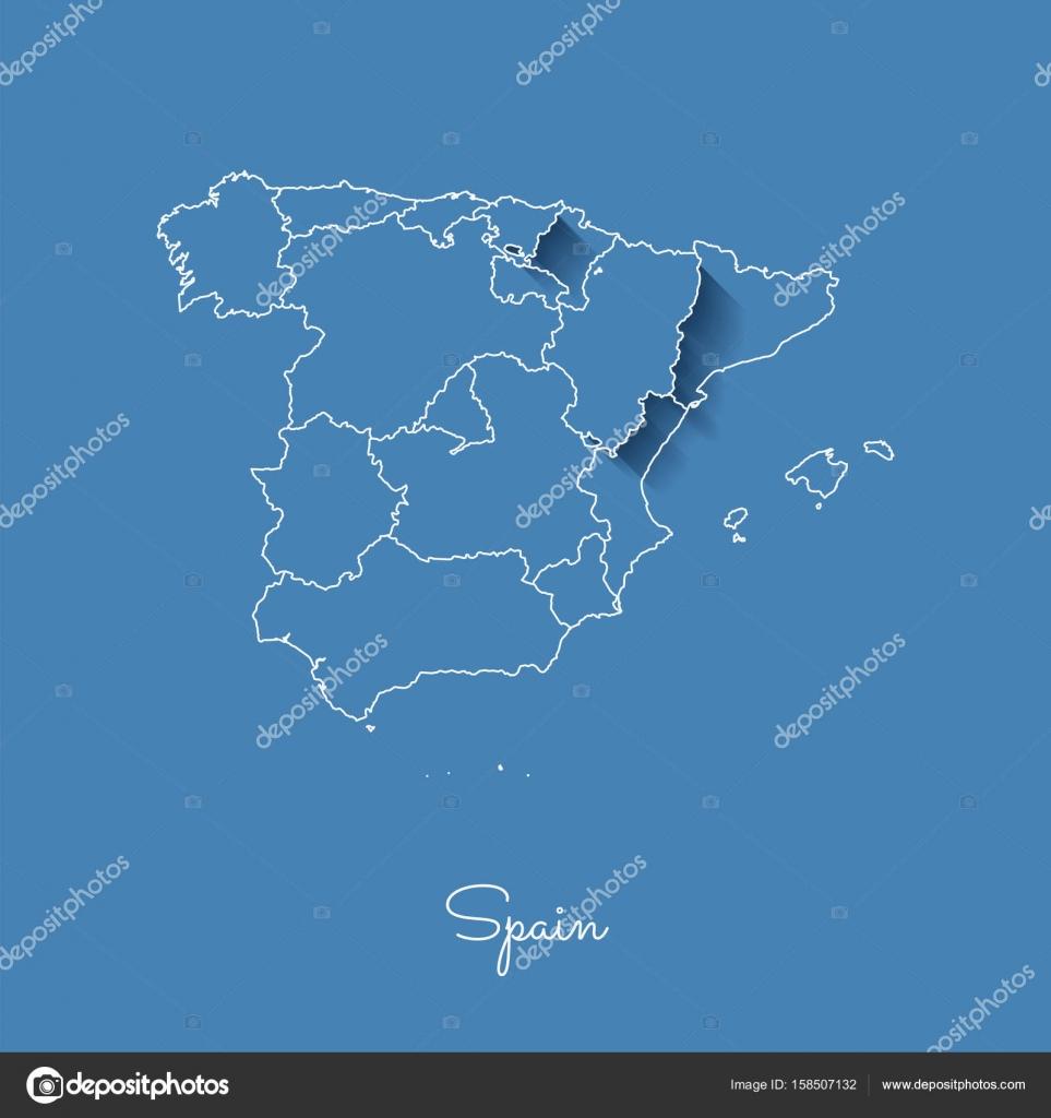 Spanien Regionen Karte.Spanien Region Karte Blau Mit Weißen Rand Und Schatten Auf Blauem