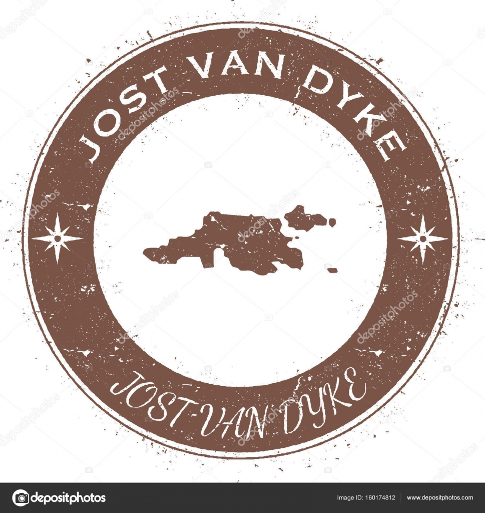 Jost Van Dyke circular patriotic badge Grunge rubber stamp with