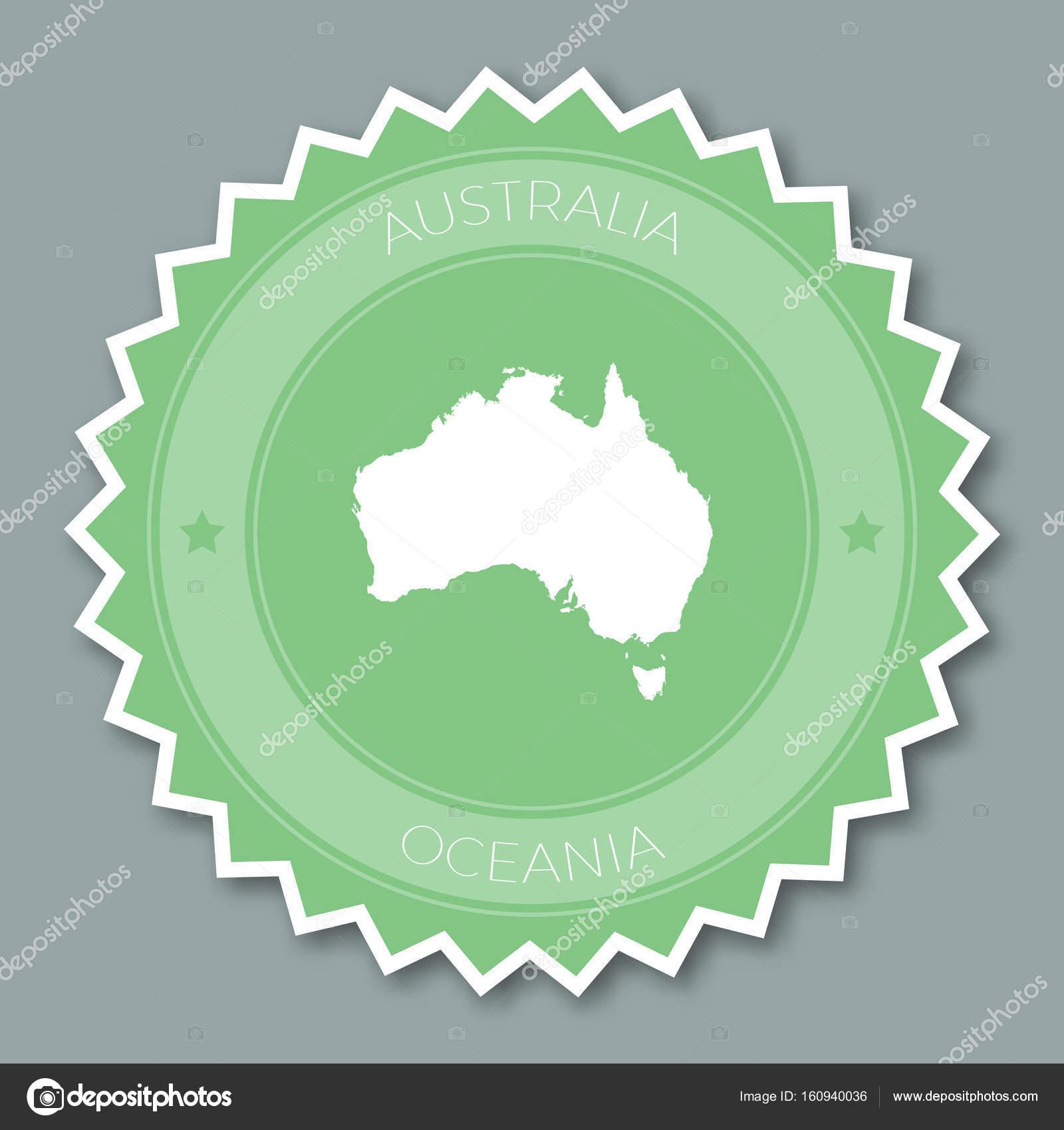 Australien Karta Lander.Australien Badge Platt Design Runda Platta Stil Klistermarke Av