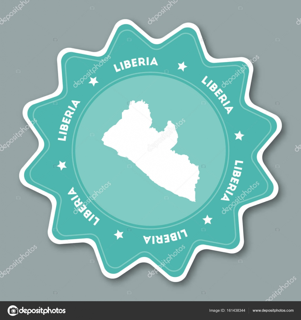 Liberia map sticker in trendy colors star shaped travel sticker with liberia map sticker in trendy colors star shaped travel sticker with country name and map can freerunsca Gallery
