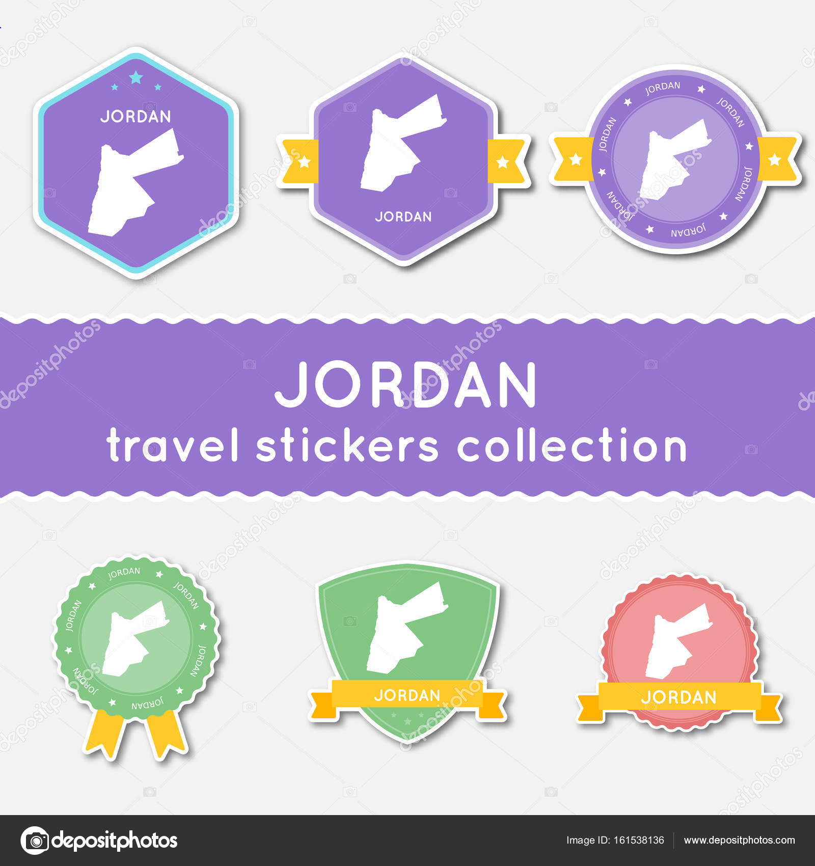 Jordan travel stickers collection big set of stickers with country map and name flat material