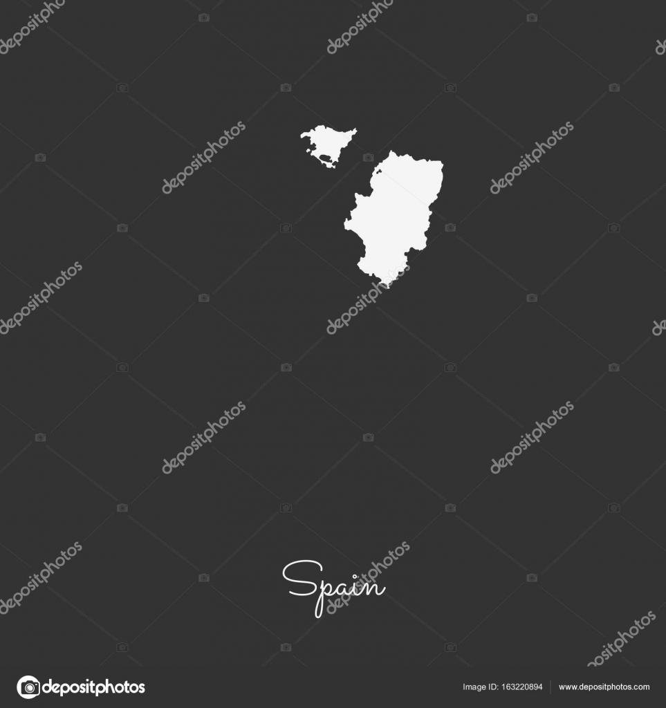 Spanien Regionen Karte.Spanien Region Karte Weißen Umriss Auf Grauem Hintergrund