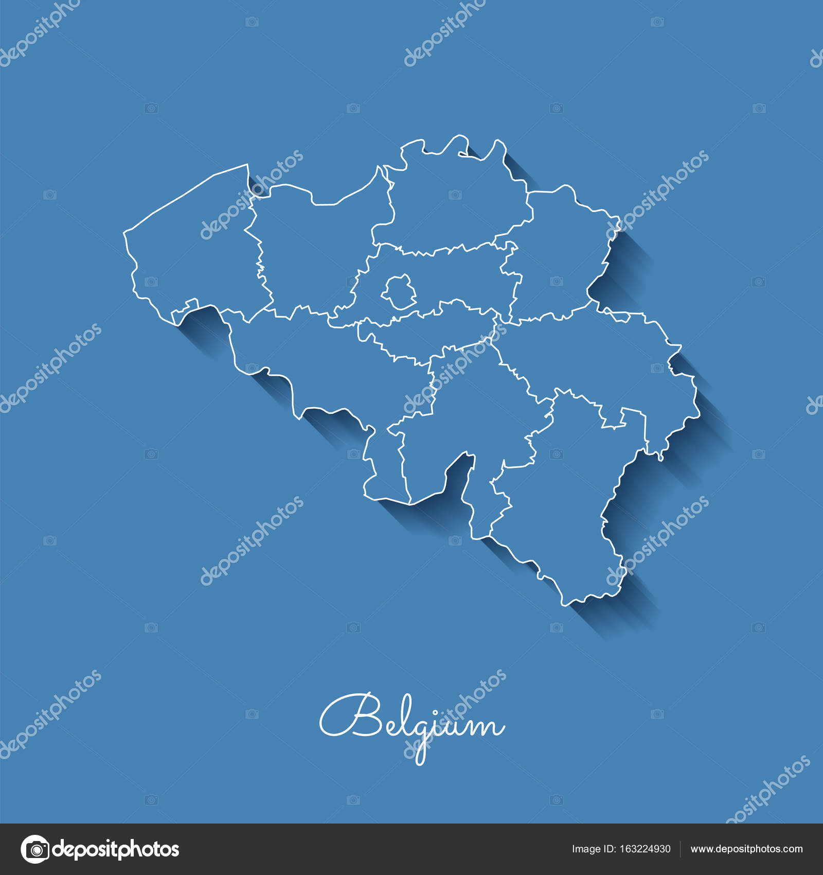 belgium region map blue with white outline and shadow on blue background detailed map of belgium