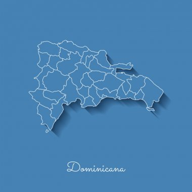 Dominicana region map blue with white outline and shadow on blue background Detailed map of