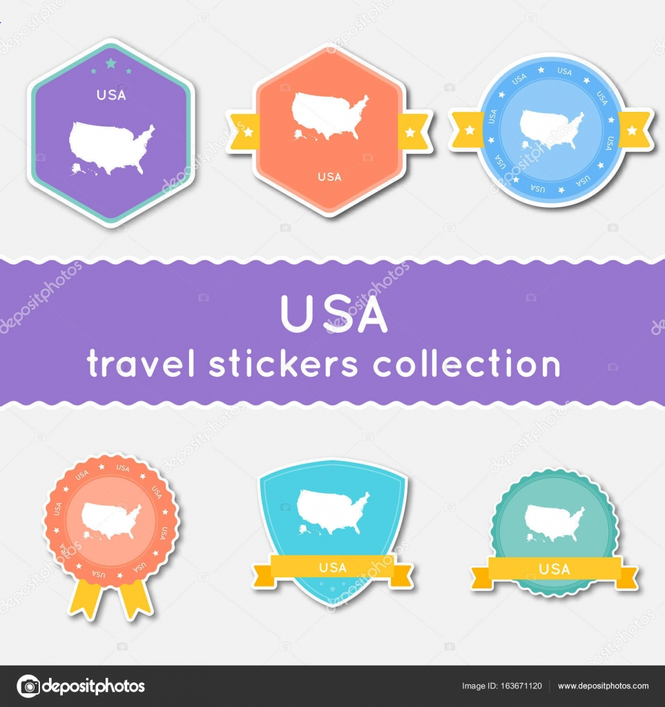 Flat Us Map.United States Travel Stickers Collection Big Set Of Stickers With