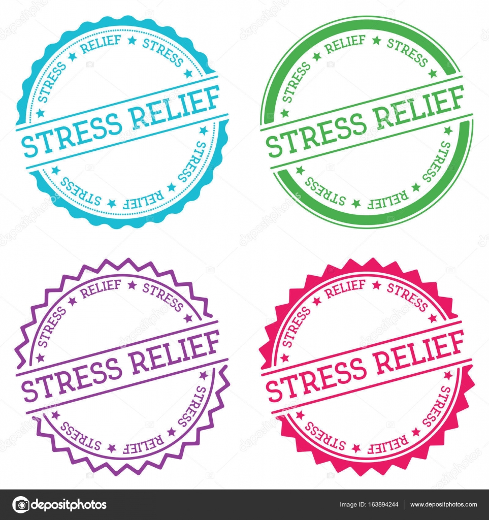 Stress relief badge isolated on white background Flat style round