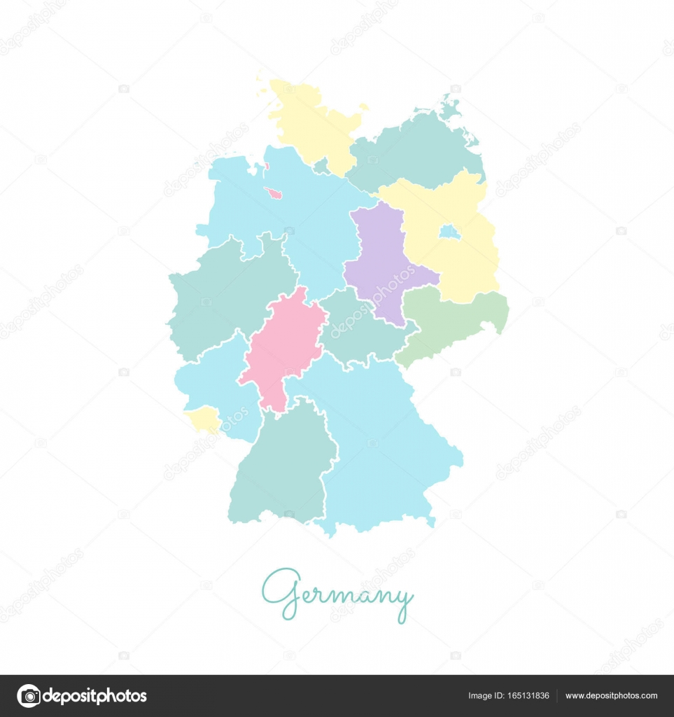 Map Of Germany With Regions.Germany Region Map Colorful With White Outline Detailed Map Of