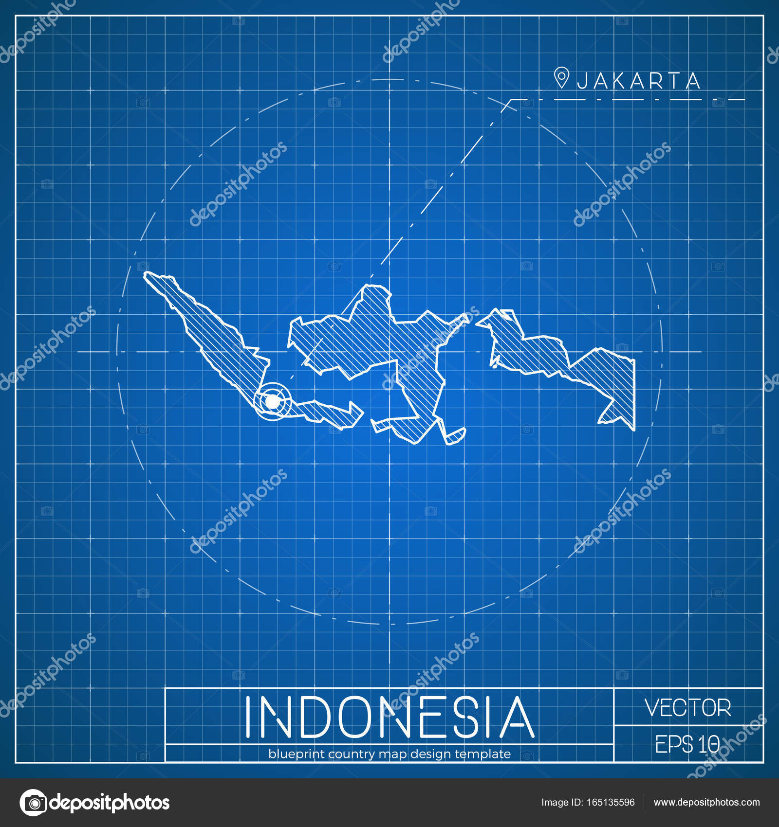 Indonesia blueprint map template with capital city jakarta marked on indonesia blueprint map template with capital city jakarta marked on blueprint indonesian map stock vector freerunsca Gallery