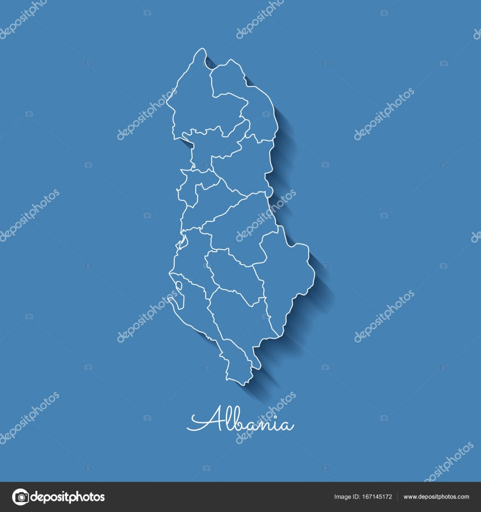 Albania region map blue with white outline and shadow on blue albania region map blue with white outline and shadow on blue background detailed map of albania publicscrutiny Choice Image