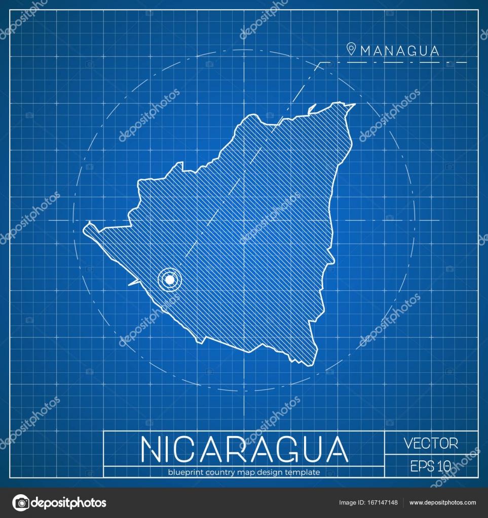Nicaragua-Blaupause-Map-Vorlage mit der Hauptstadt Managua in ...