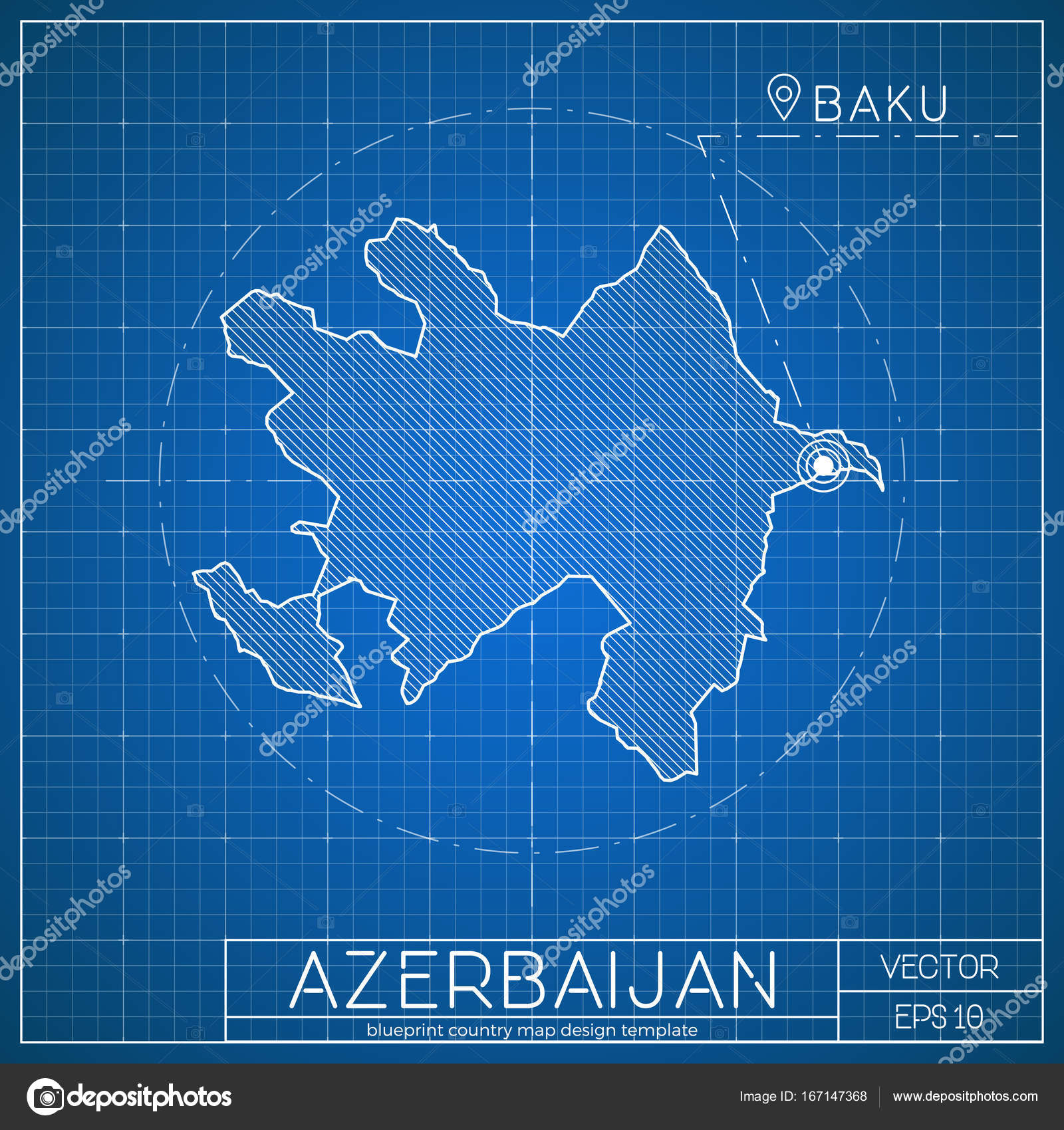 azerbaijan blueprint map template with capital city baku marked on
