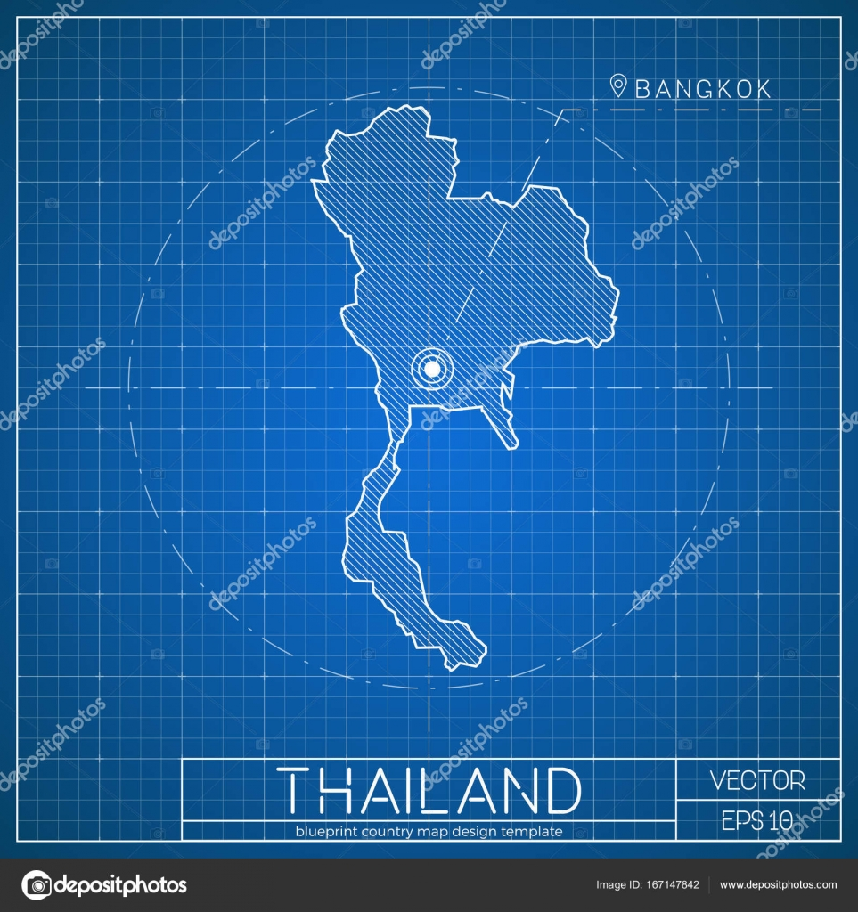Thailand blueprint map template with capital city bangkok marked on thailand blueprint map template with capital city bangkok marked on blueprint thai map vector stock malvernweather Images