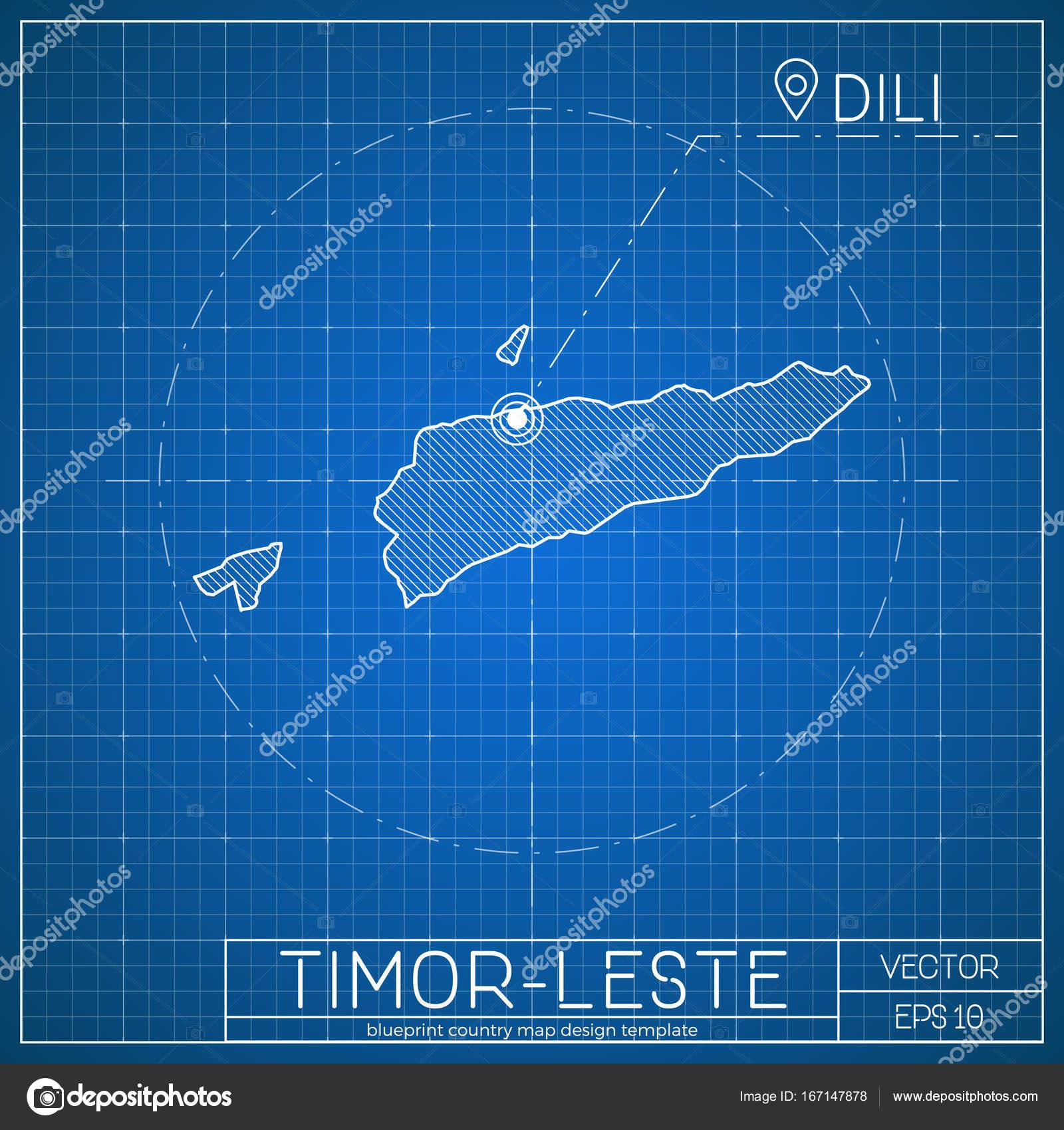 TimorLeste Blueprint Map Template With Capital City Dili Marked On - East timor seetimor leste map vector