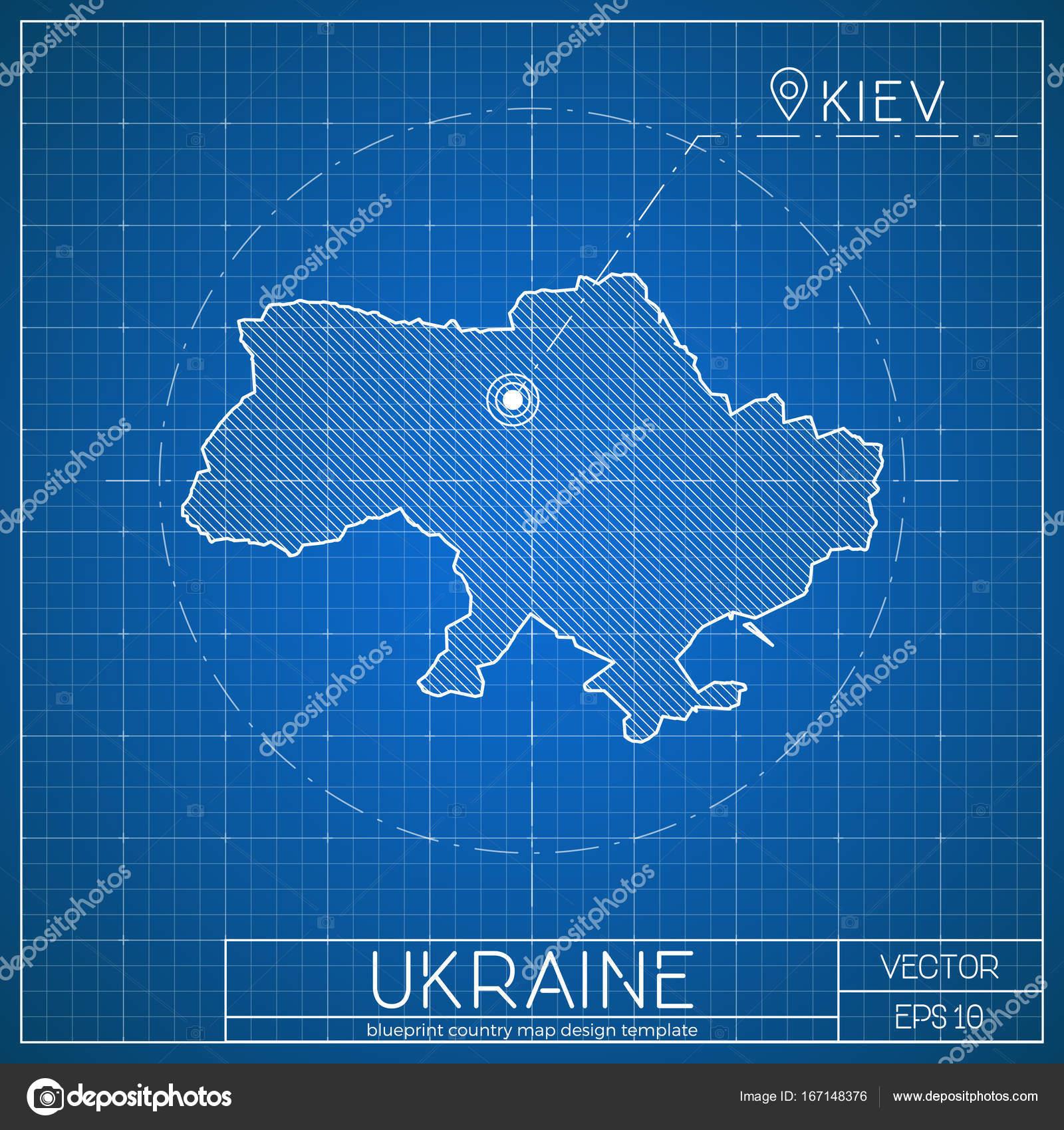 Plantilla de mapa plan de Ucrania con la ciudad capital de Kiev ...