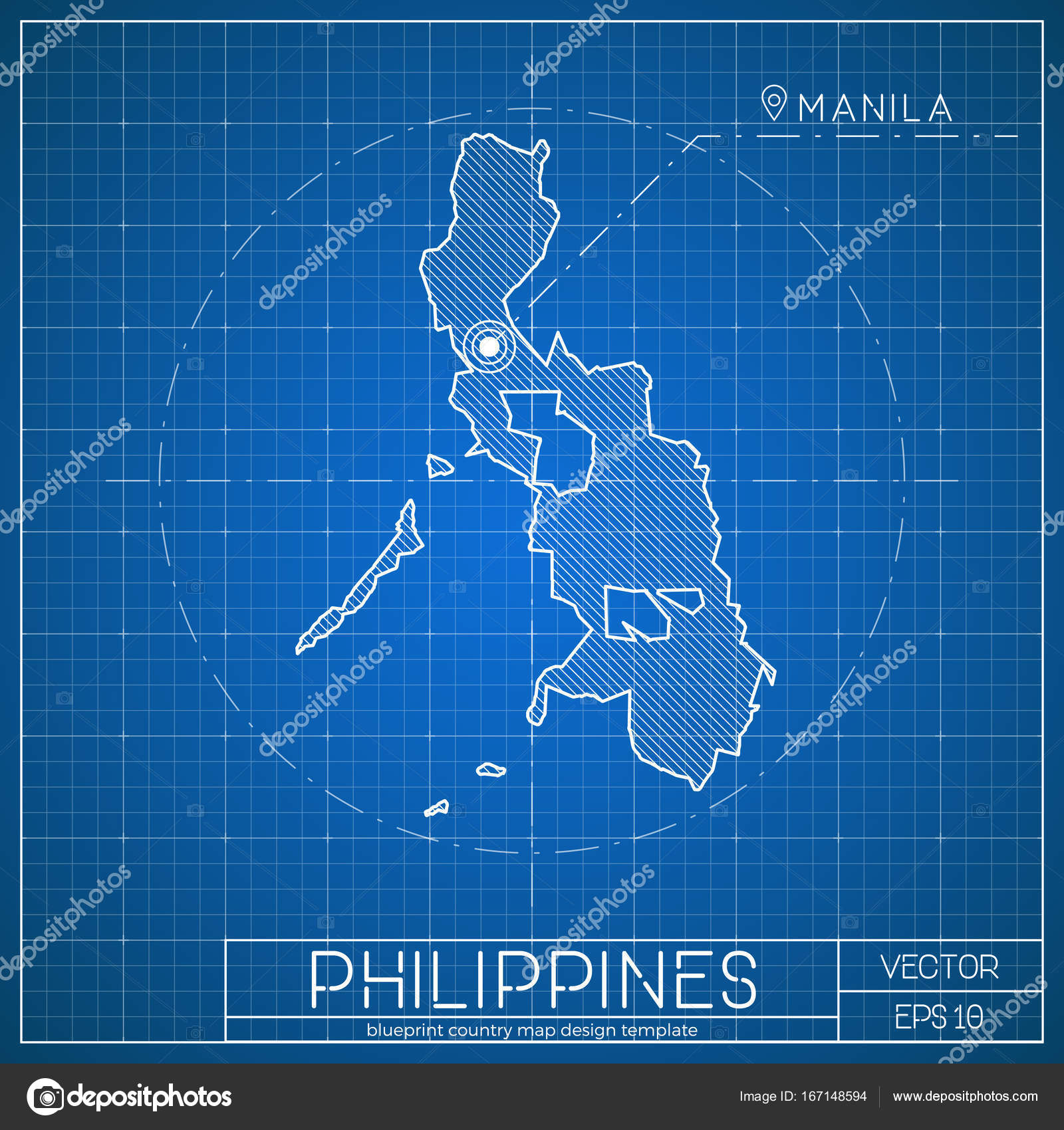Philippines blueprint map template with capital city manila marked philippines blueprint map template with capital city manila marked on blueprint filipino map stock vector malvernweather Images