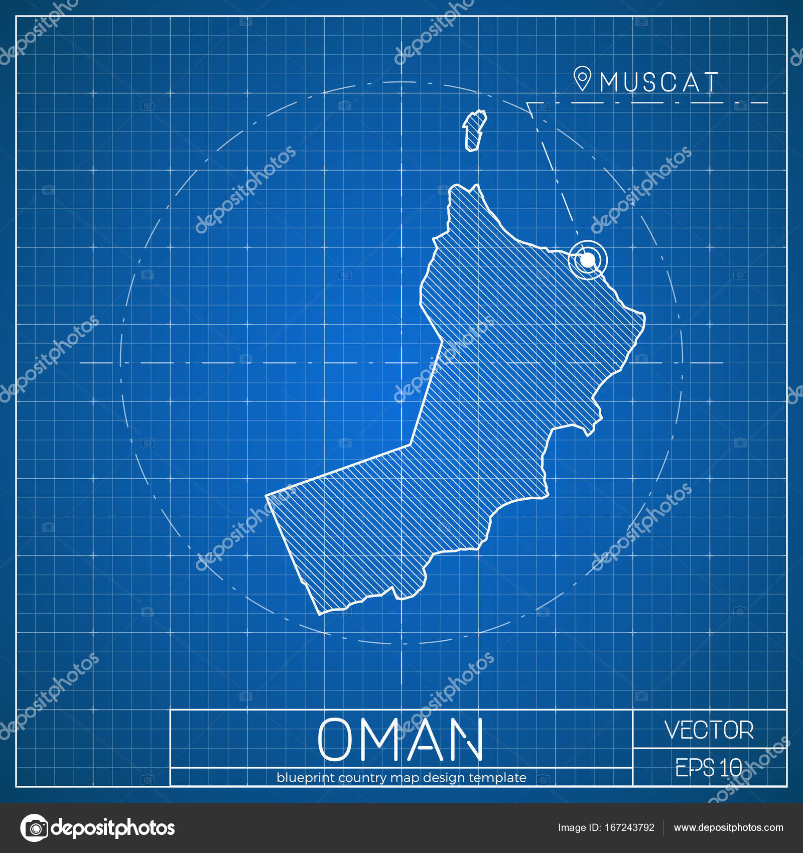 Oman Blueprint Map Template With Capital City Muscat Marked On - Oman map download