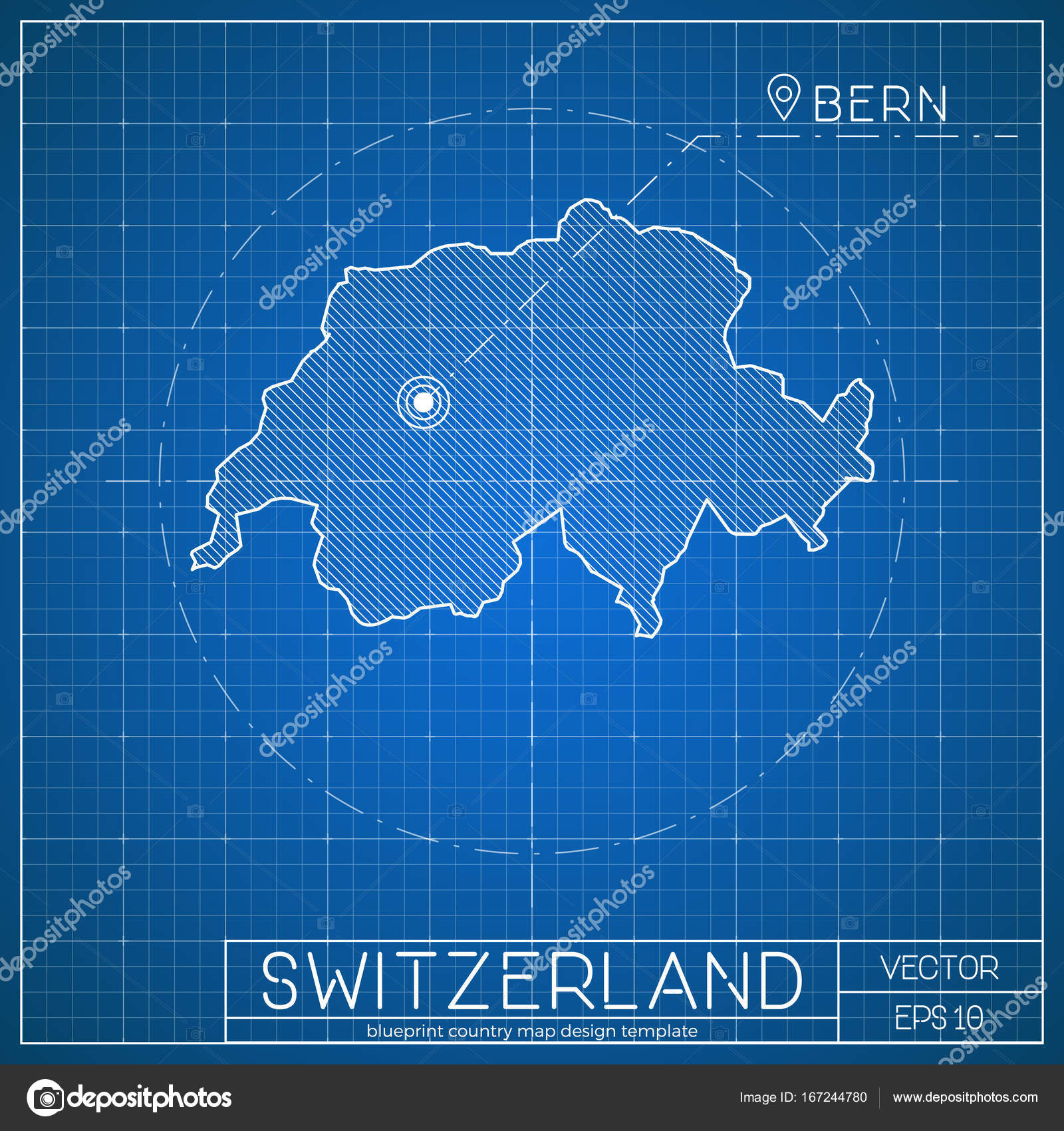 Switzerland blueprint map template with capital city bern marked on switzerland blueprint map template with capital city bern marked on blueprint swiss map vector stock malvernweather Images