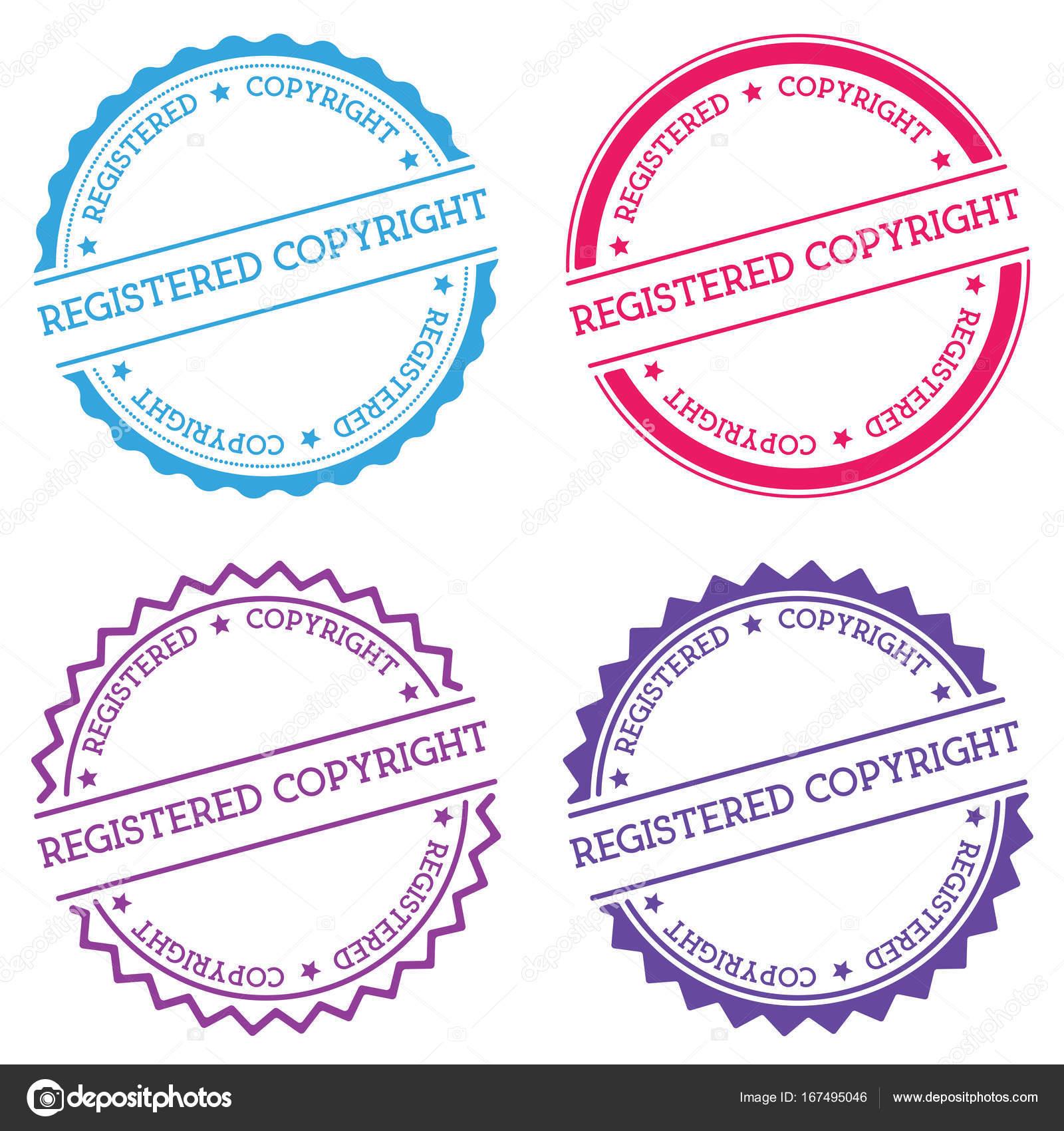Registered Copyright Badge Isolated On White Background Flat Style
