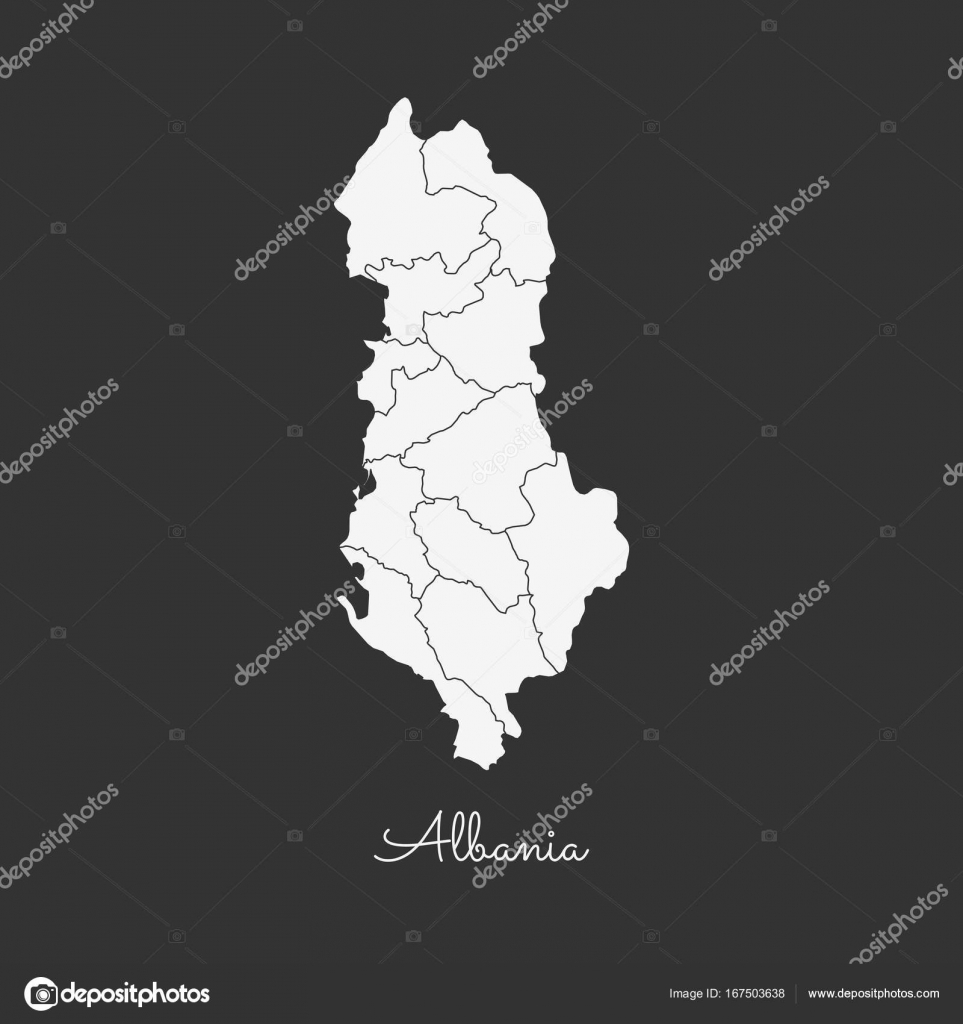 Albania region map white outline on grey background detailed map of albania region map white outline on grey background detailed map of albania regions vector stock publicscrutiny Choice Image