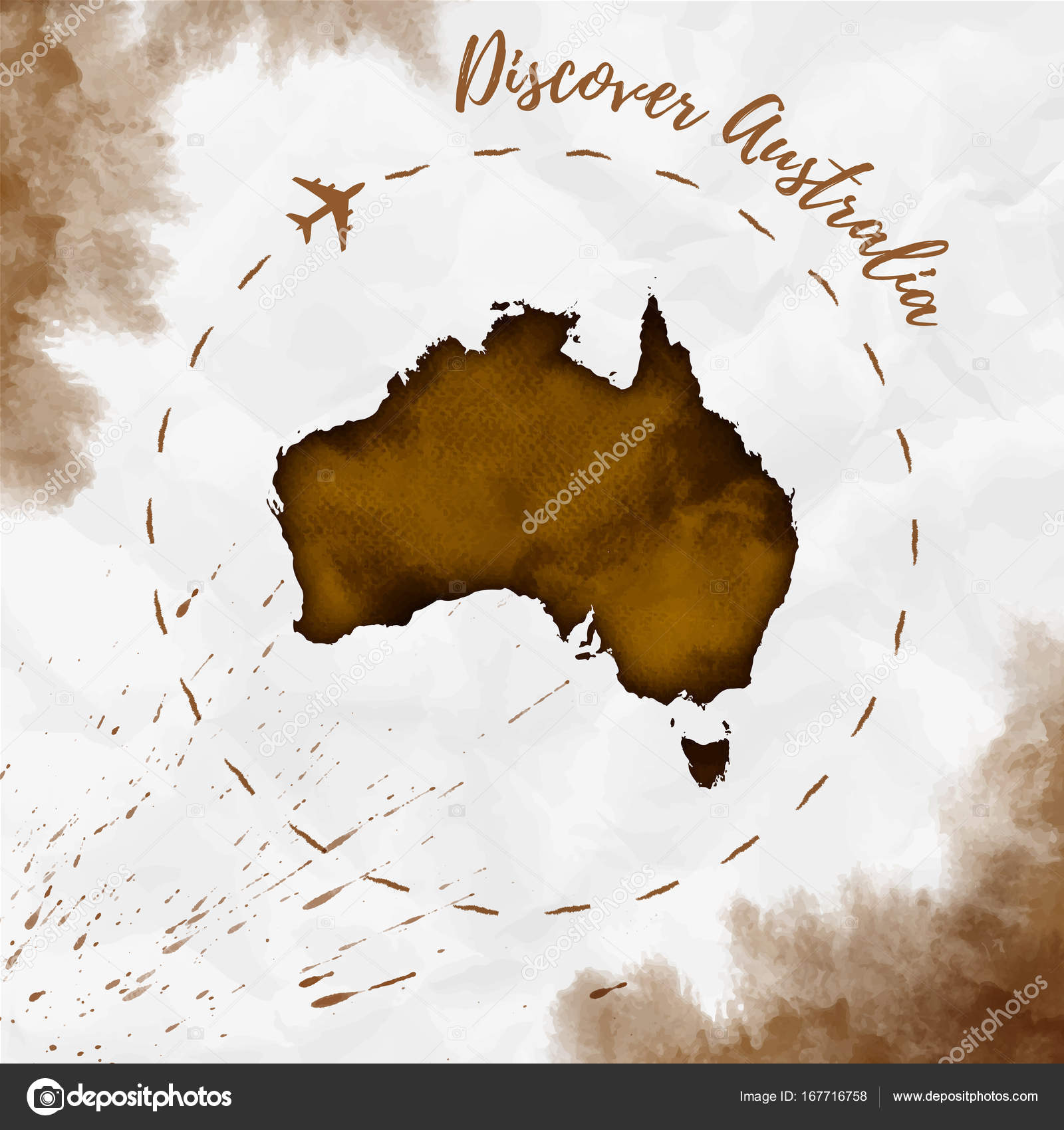 Australia watercolor map in sepia colors discover australia poster australia watercolor map in sepia colors discover australia poster with airplane trace and stock vector gumiabroncs Image collections