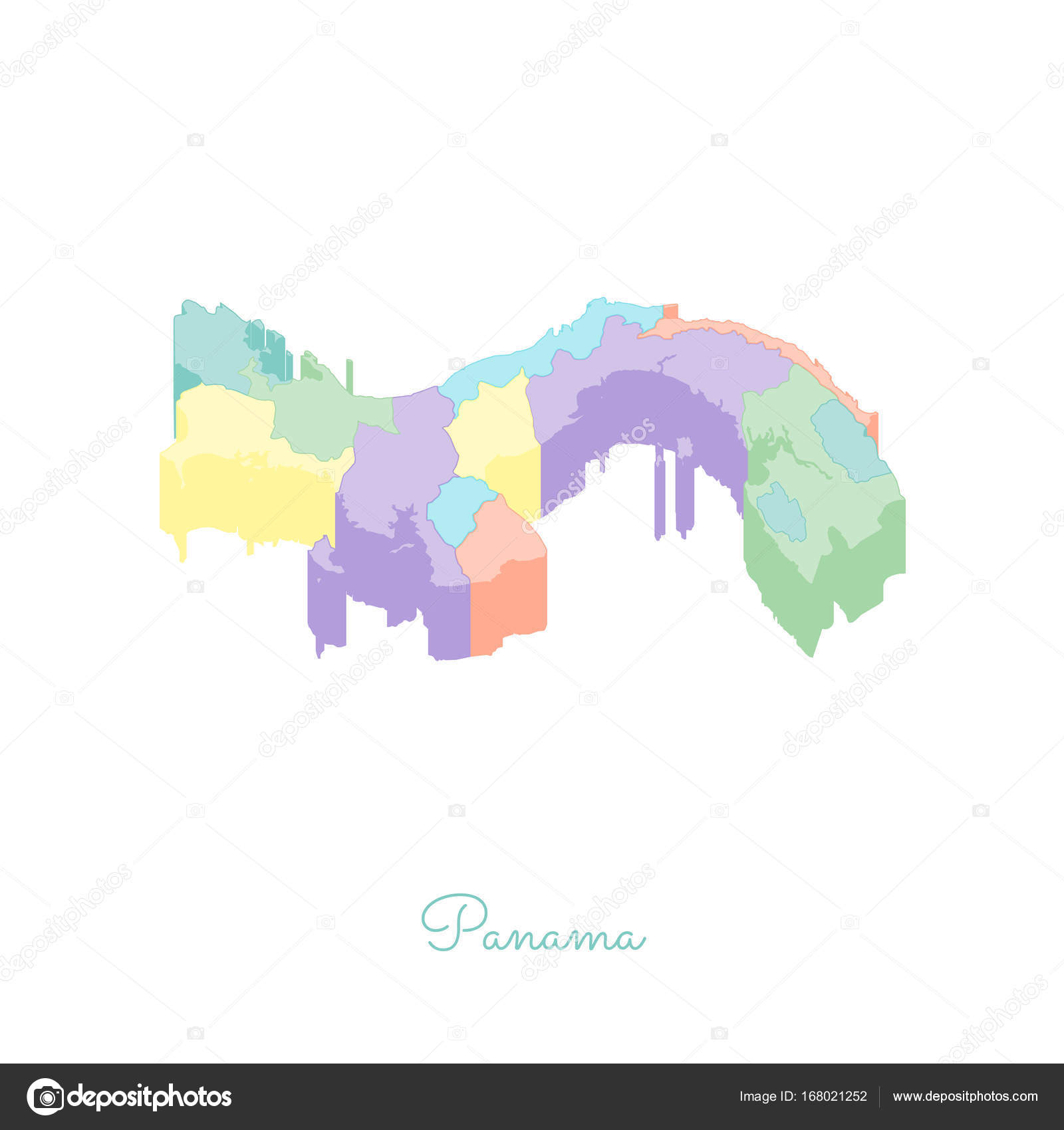 Panama Region Map Colorful Isometric Top View Detailed Map Of - Panama map vector