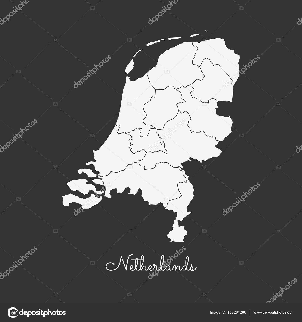 Niederlande Karte Umriss.Niederlande Region Karte Weißen Umriss Auf Grauem Hintergrund