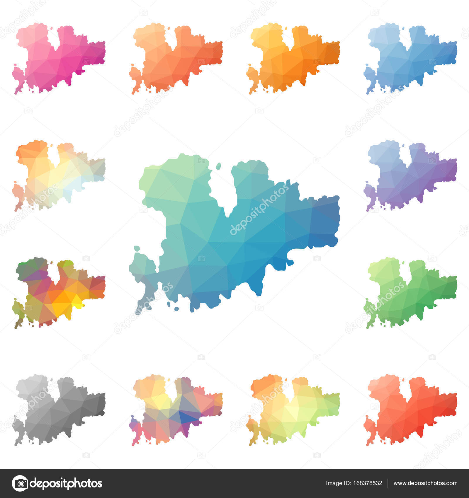 Karte Griechenland Mykonos.Insel Mykonos Geometrische Polygonalen Mosaik Stil Karten Sammlung