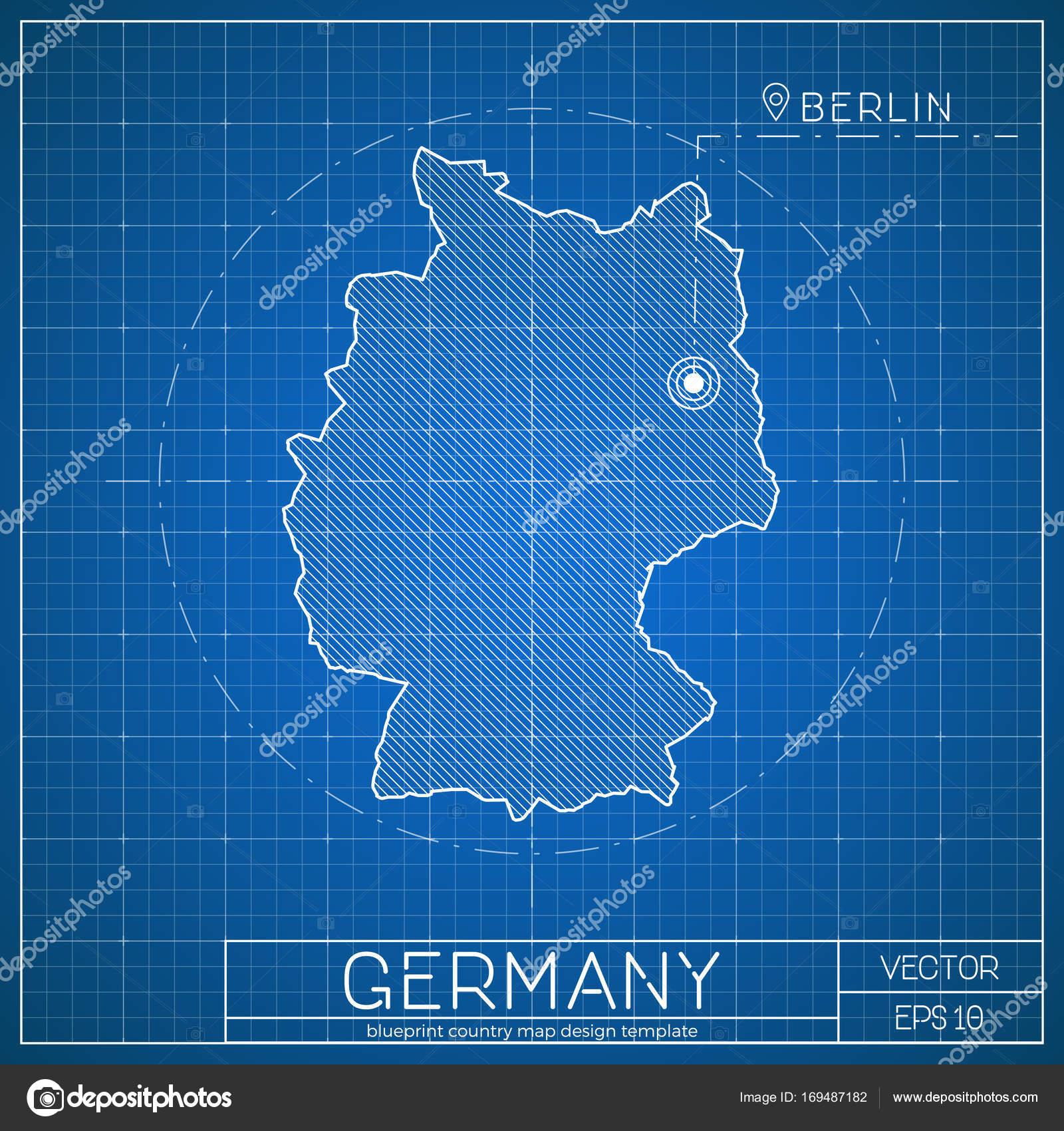Germany blueprint map template with capital city berlin marked on germany blueprint map template with capital city berlin marked on blueprint german map vector stock gumiabroncs Image collections