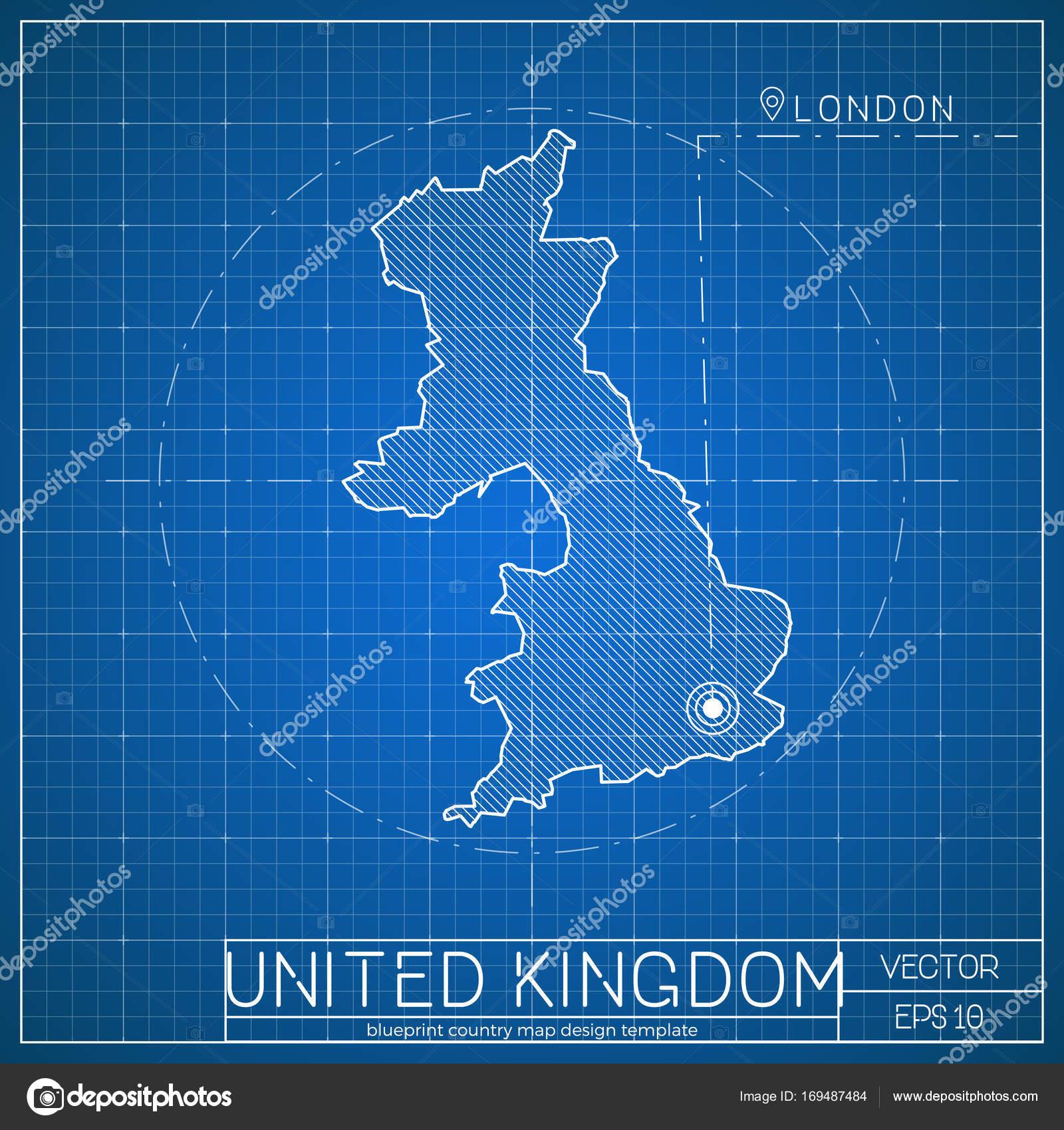 United Kingdom Blueprint Map Template With Capital City London Marked On  Blueprint British Map U2014 Stock