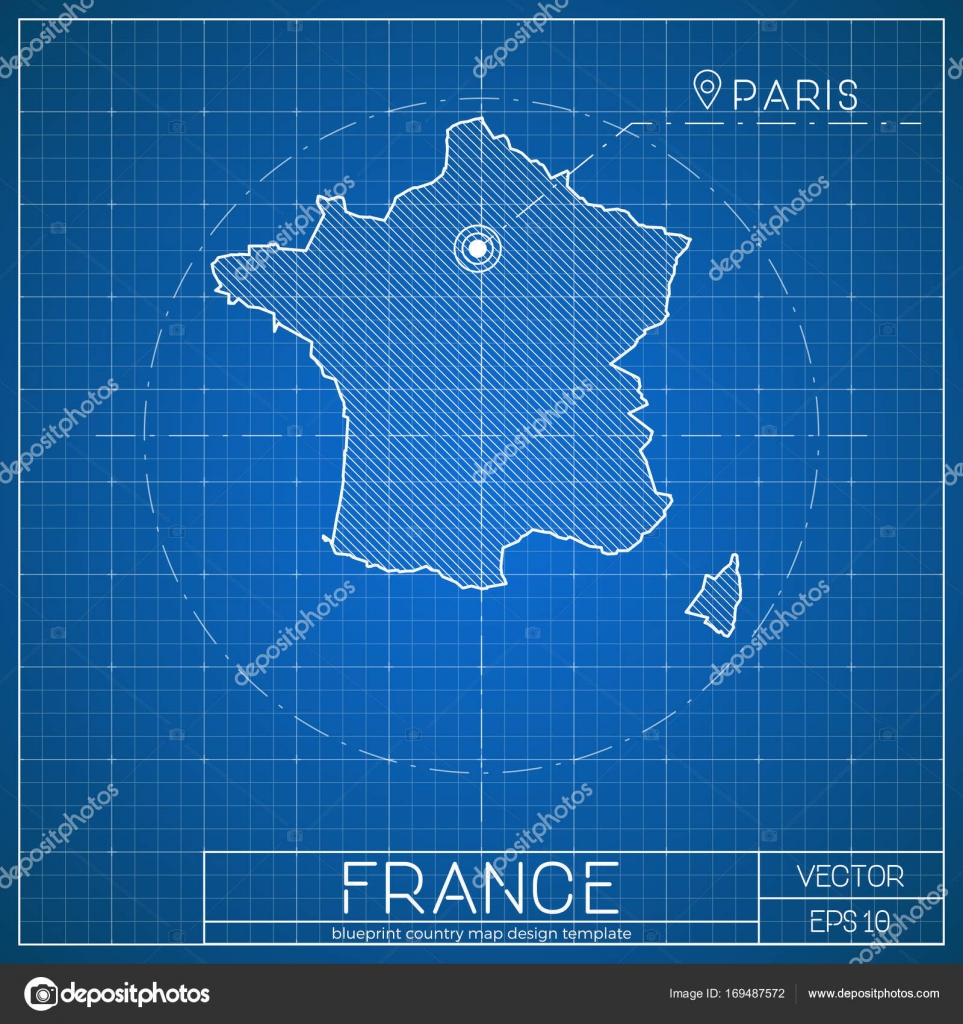 France blueprint map template with capital city paris marked on france blueprint map template with capital city paris marked on blueprint french map vector stock malvernweather Image collections