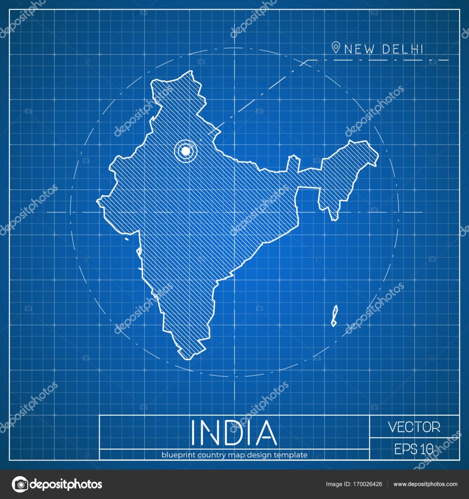 Plantilla de mapa de plan de la India con la ciudad capital Nueva ...