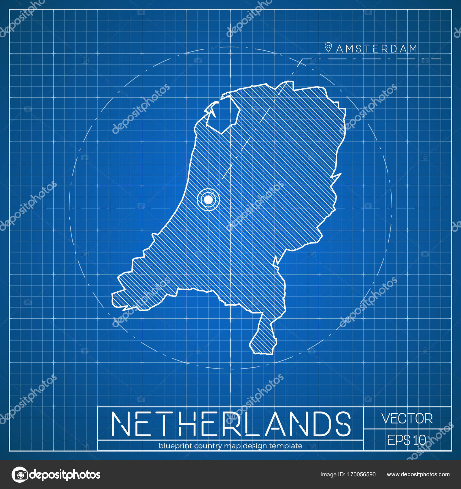 Netherlands blueprint map template with capital city amsterdam netherlands blueprint map template with capital city amsterdam marked on blueprint dutch map stock vector malvernweather Image collections