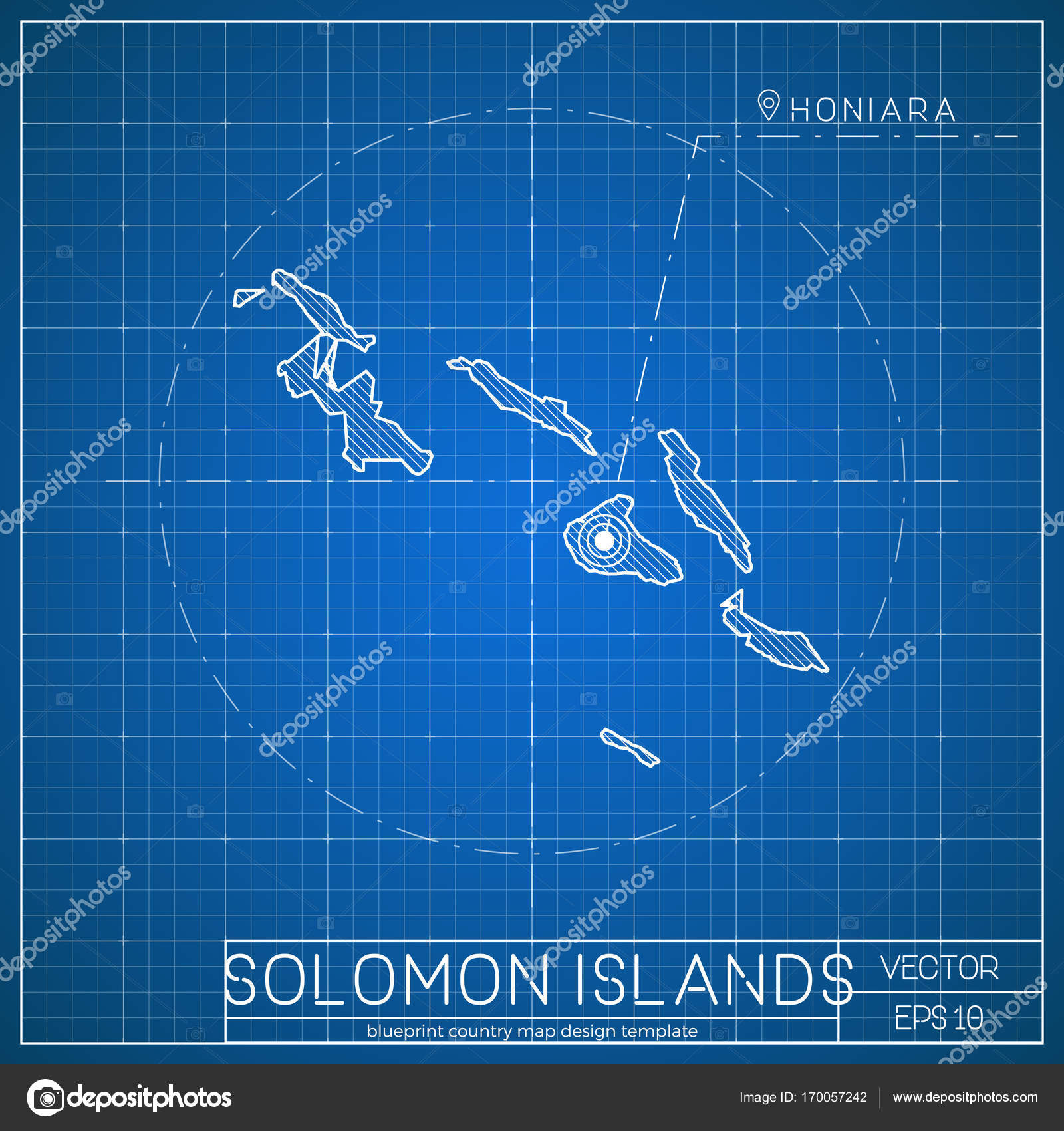 Solomon islands blueprint map template with capital city honiara solomon islands blueprint map template with capital city honiara marked on blueprint solomon stock vector malvernweather Images